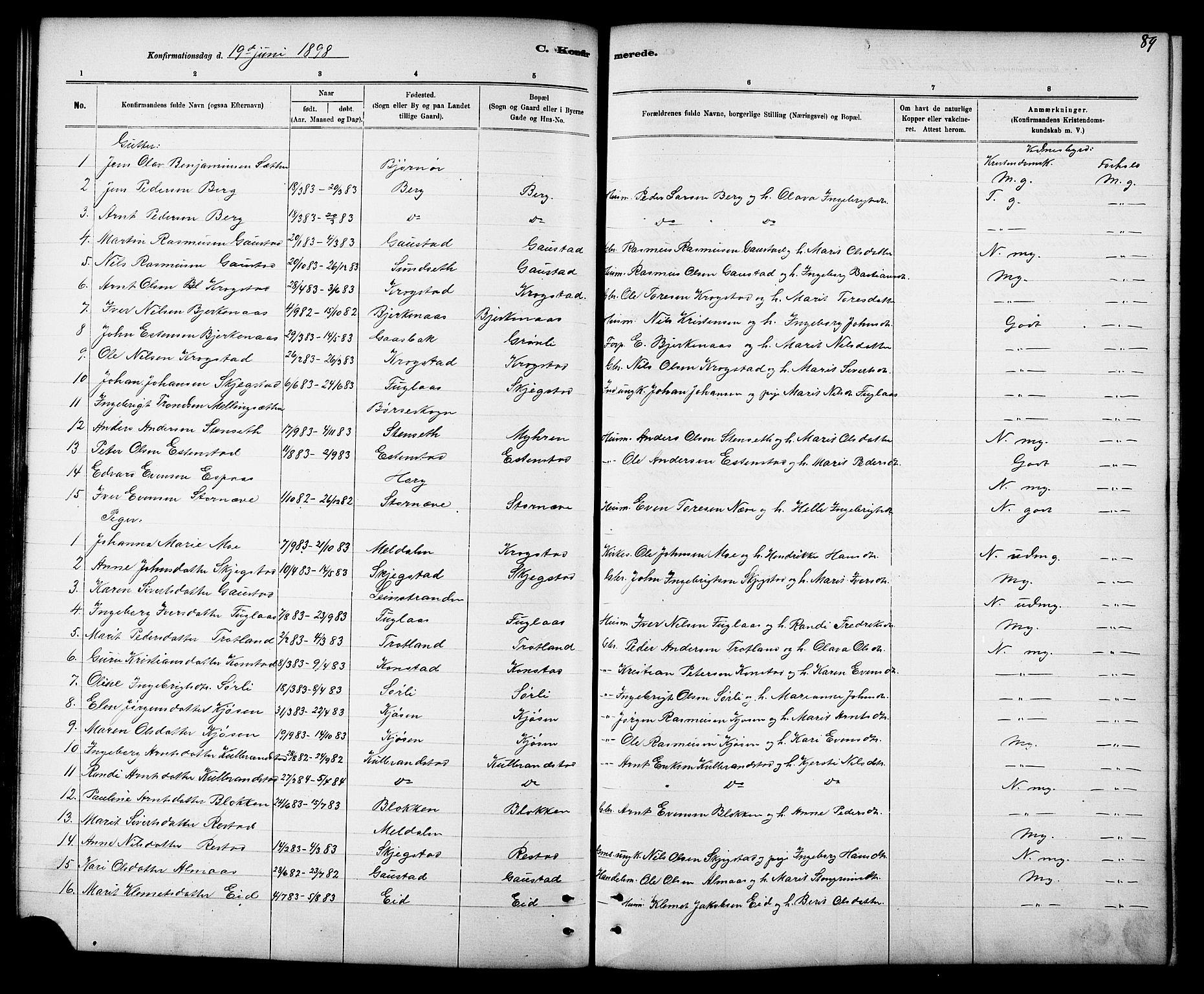 SAT, Ministerialprotokoller, klokkerbøker og fødselsregistre - Sør-Trøndelag, 694/L1132: Klokkerbok nr. 694C04, 1887-1914, s. 89