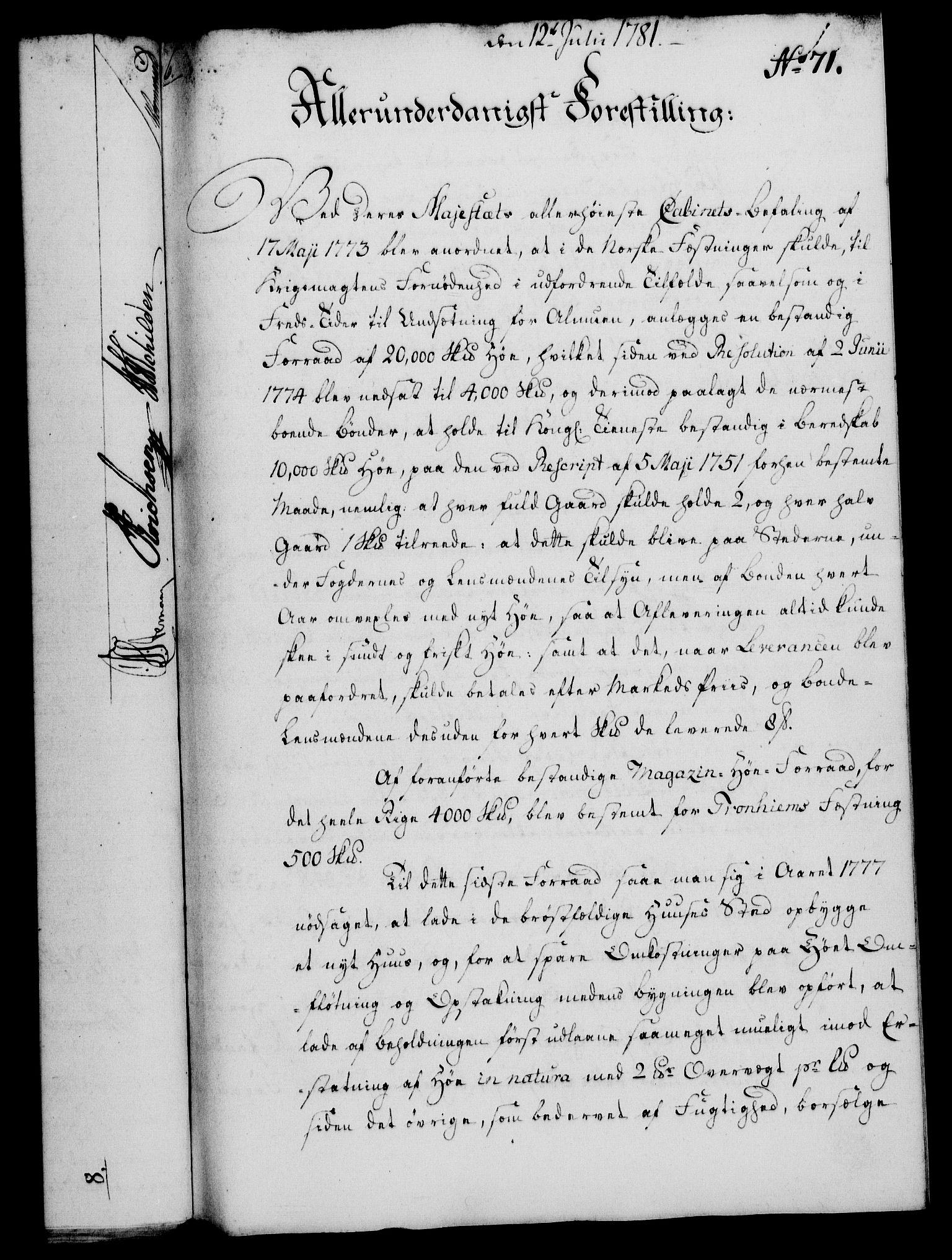RA, Rentekammeret, Kammerkanselliet, G/Gf/Gfa/L0063: Norsk relasjons- og resolusjonsprotokoll (merket RK 52.63), 1781, s. 851