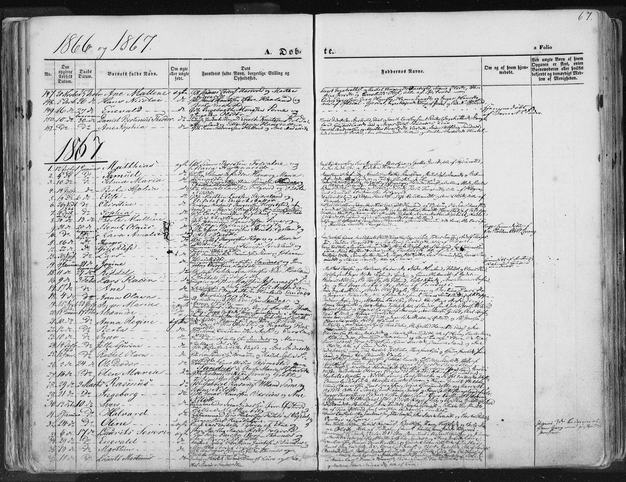 SAST, Høyland sokneprestkontor, 30BA/L0010: Ministerialbok nr. A 9.1, 1857-1877, s. 67