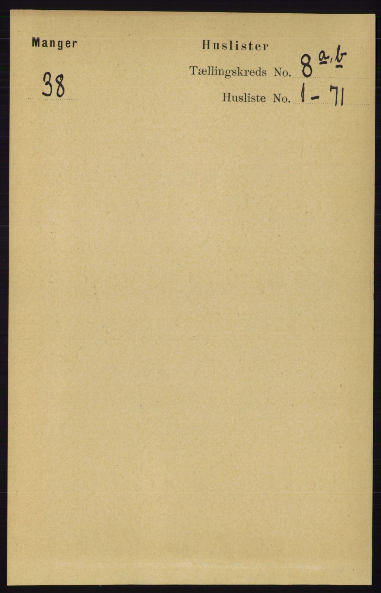 RA, Folketelling 1891 for 1261 Manger herred, 1891, s. 5011