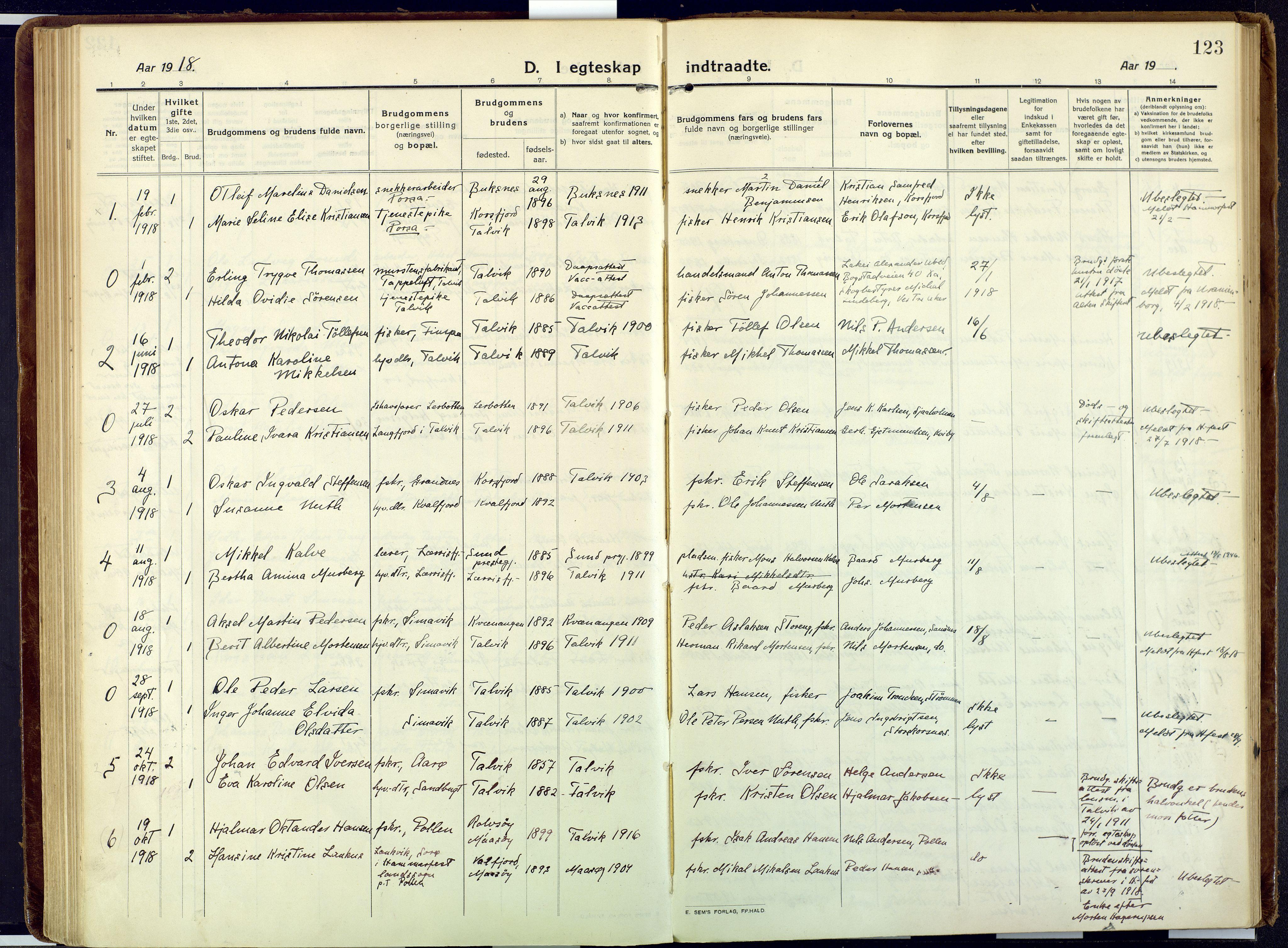 SATØ, Talvik sokneprestkontor, H/Ha/L0018kirke: Ministerialbok nr. 18, 1915-1924, s. 123