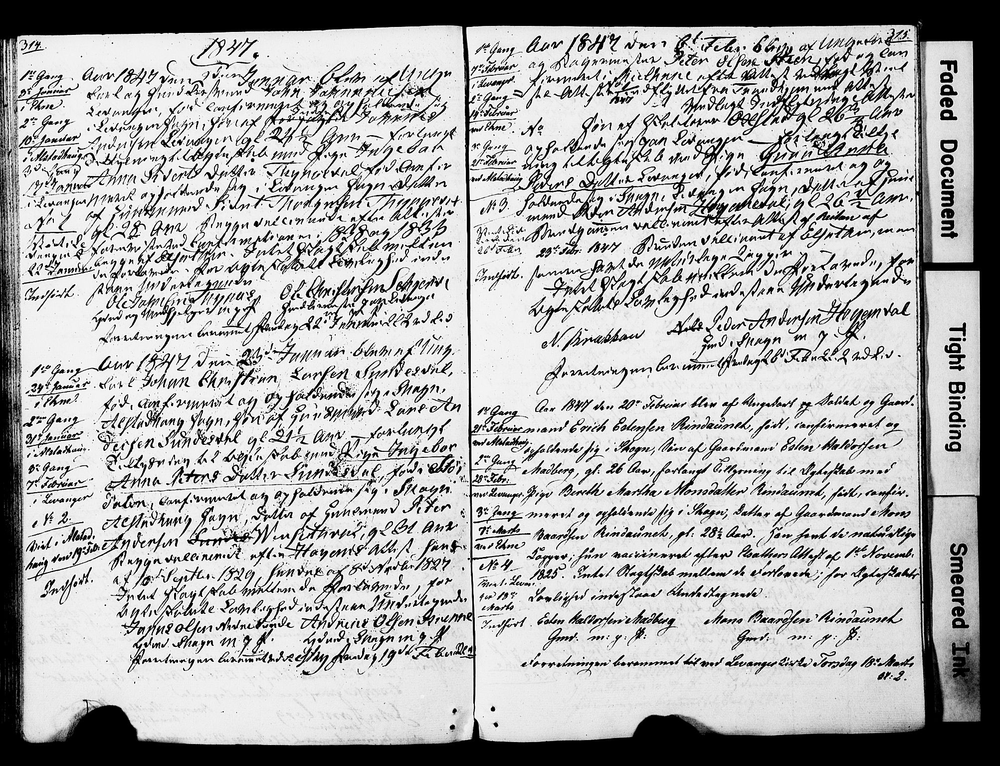SAT, Ministerialprotokoller, klokkerbøker og fødselsregistre - Nord-Trøndelag, 717/L0160: Forlovererklæringer nr. 717A10, 1828-1850, s. 314-315