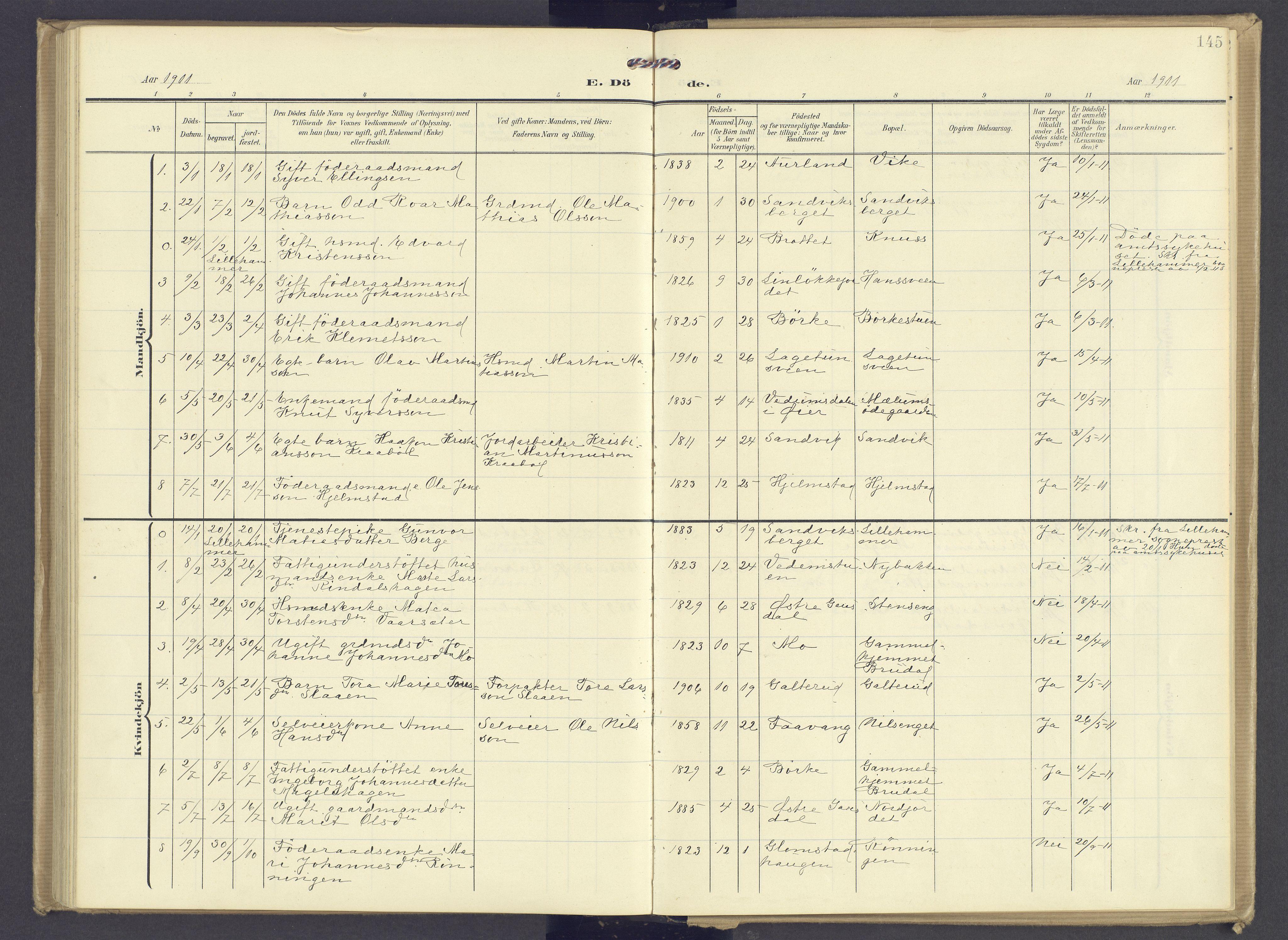 SAH, Øyer prestekontor, Ministerialbok nr. 13, 1905-1920, s. 145