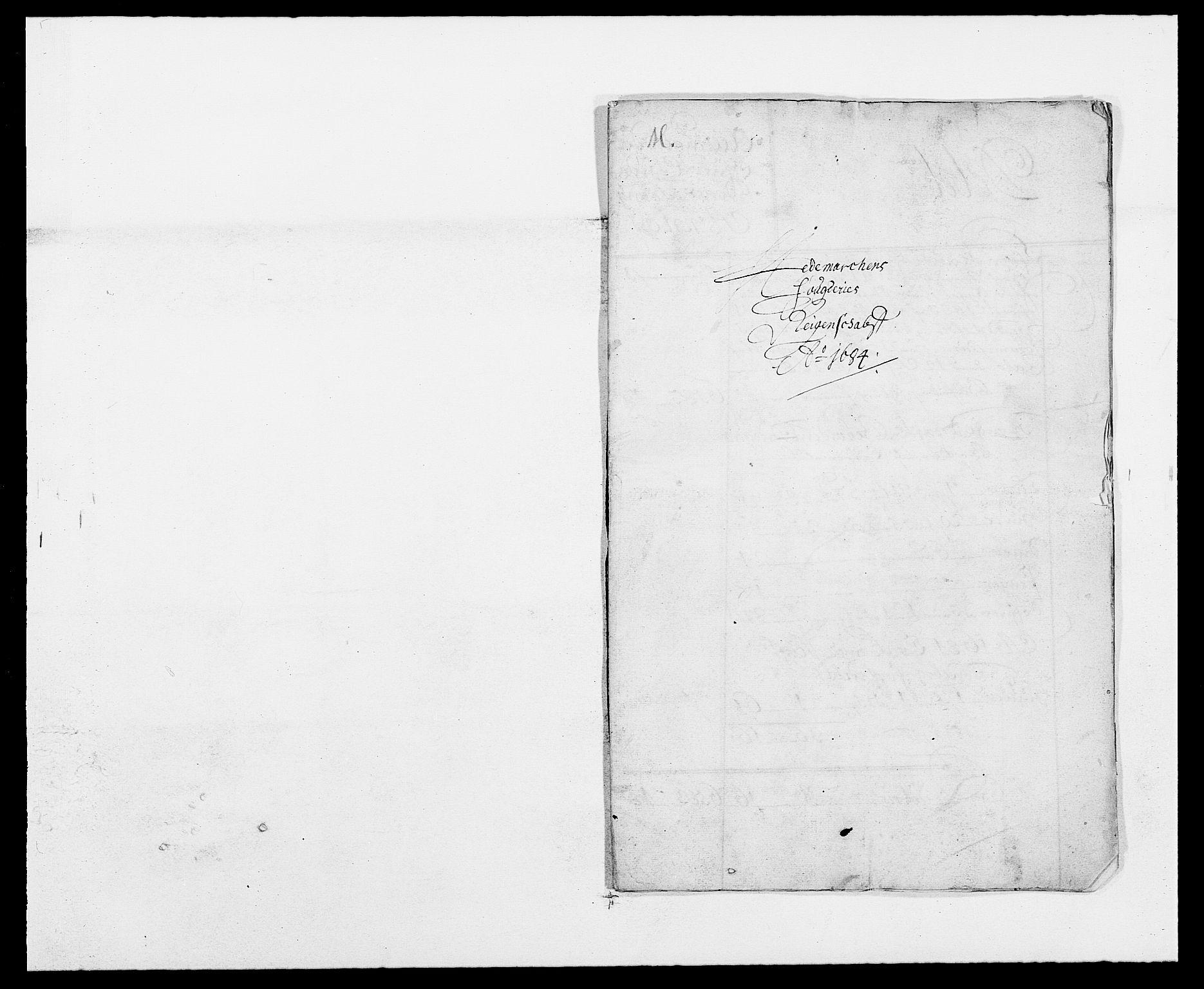 RA, Rentekammeret inntil 1814, Reviderte regnskaper, Fogderegnskap, R16/L1025: Fogderegnskap Hedmark, 1684, s. 2