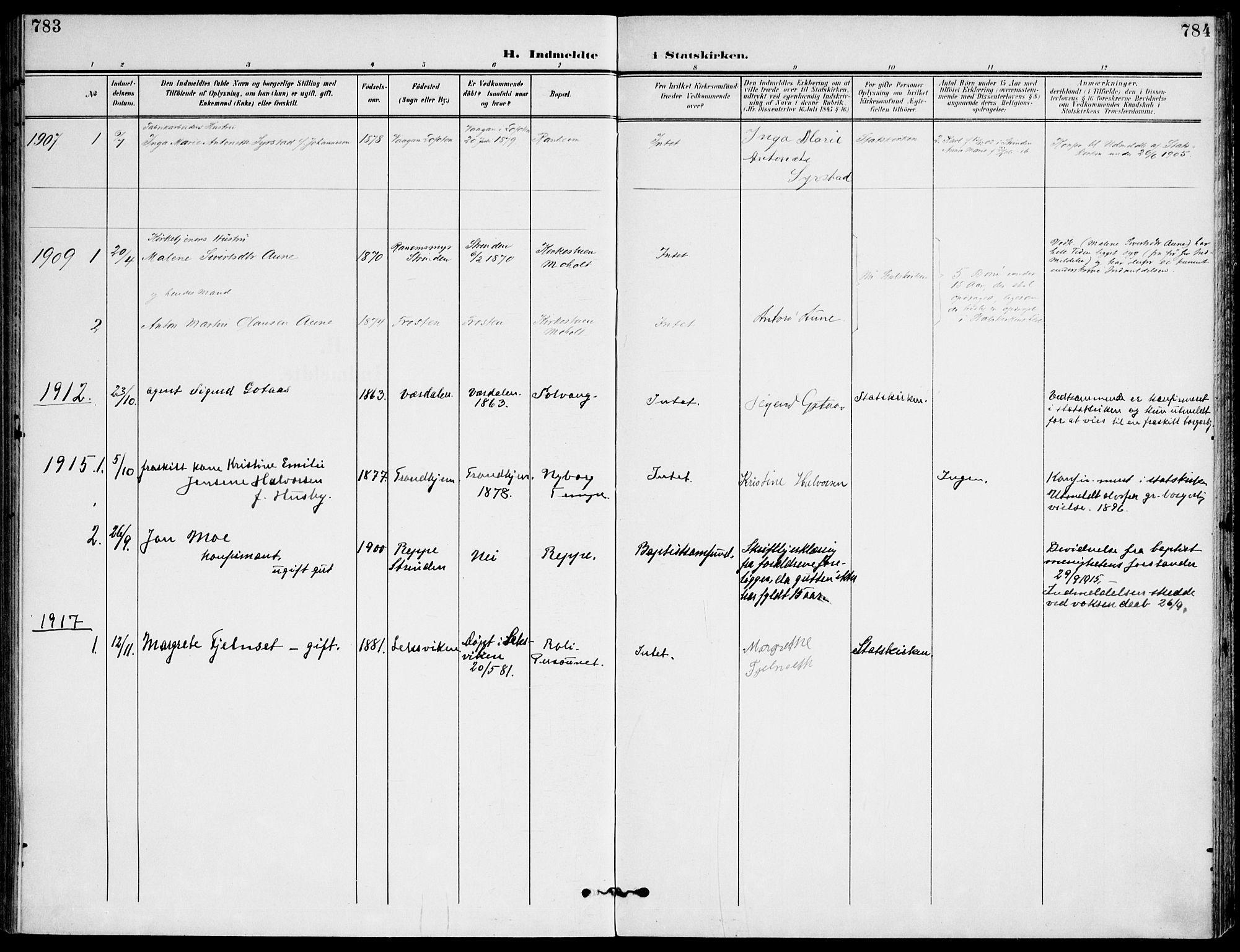 SAT, Ministerialprotokoller, klokkerbøker og fødselsregistre - Sør-Trøndelag, 607/L0320: Ministerialbok nr. 607A04, 1907-1915, s. 783-784