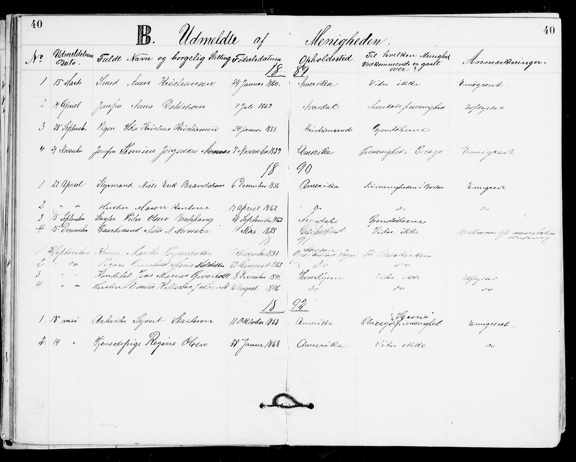 SAK, Den evangelisk-lutherske frikirke, Kristiansand, F/Fa/L0002: Dissenterprotokoll nr. F 10, 1889-1892, s. 40