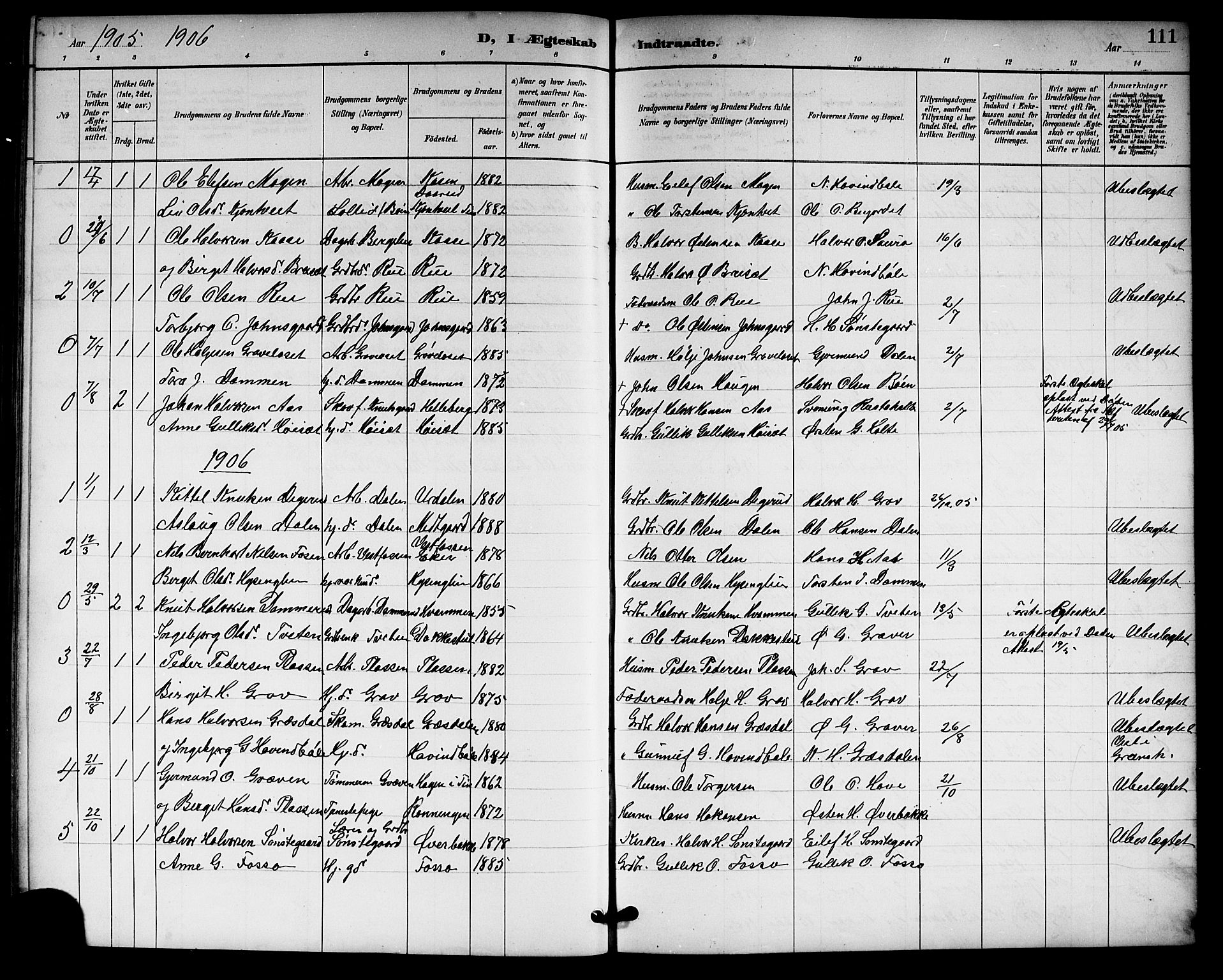 SAKO, Gransherad kirkebøker, G/Gb/L0003: Klokkerbok nr. II 3, 1887-1921, s. 111
