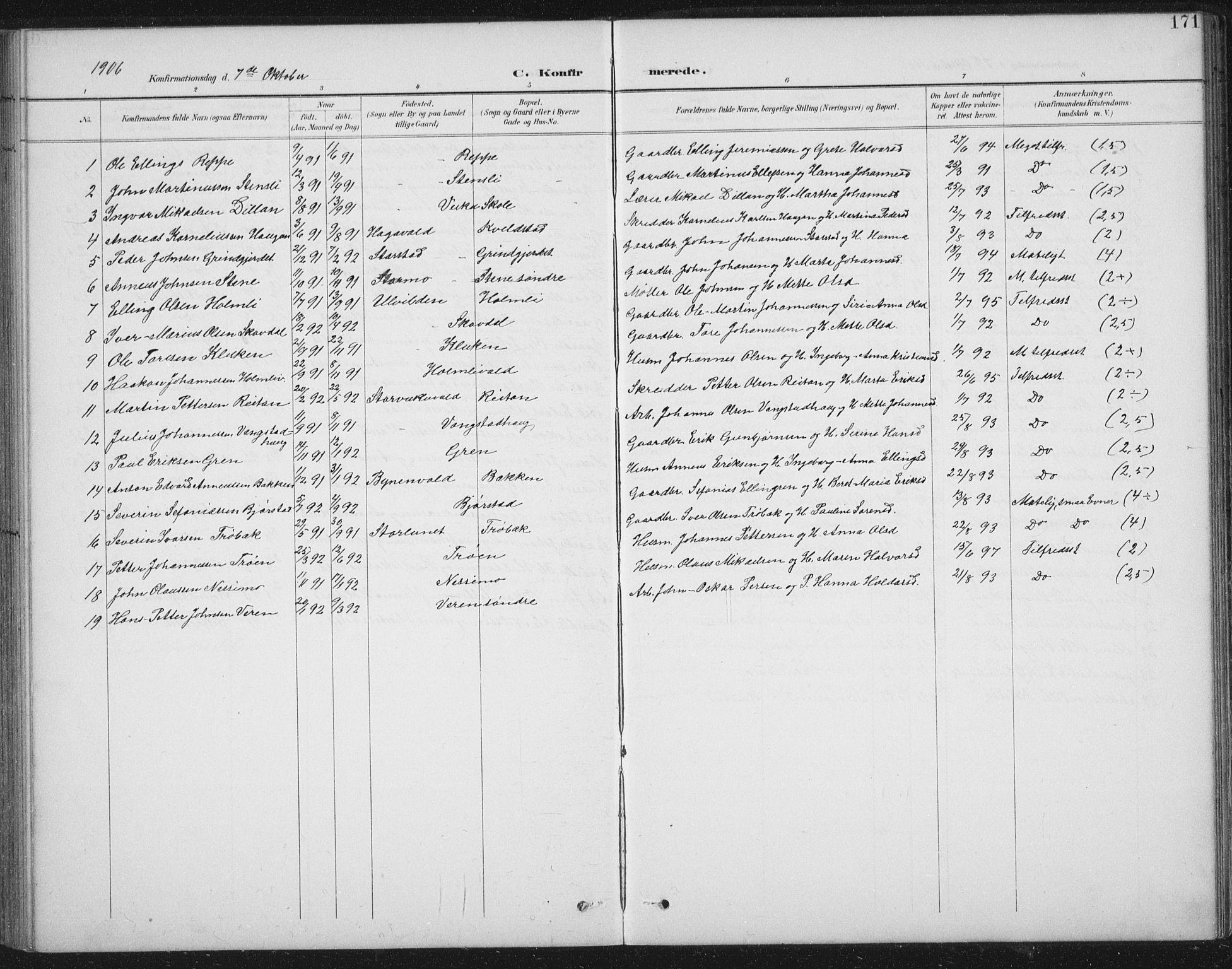 SAT, Ministerialprotokoller, klokkerbøker og fødselsregistre - Nord-Trøndelag, 724/L0269: Klokkerbok nr. 724C05, 1899-1920, s. 171