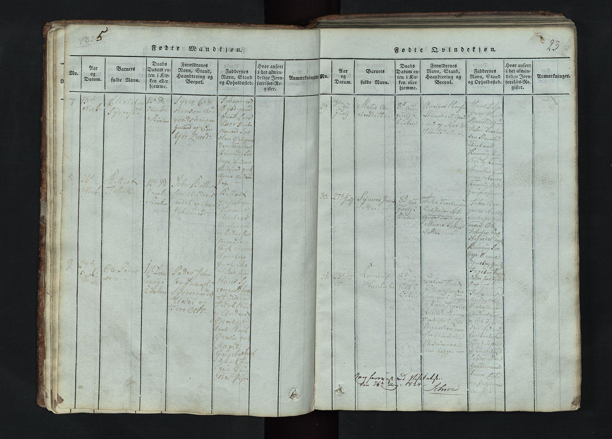 SAH, Lom prestekontor, L/L0002: Klokkerbok nr. 2, 1815-1844, s. 23
