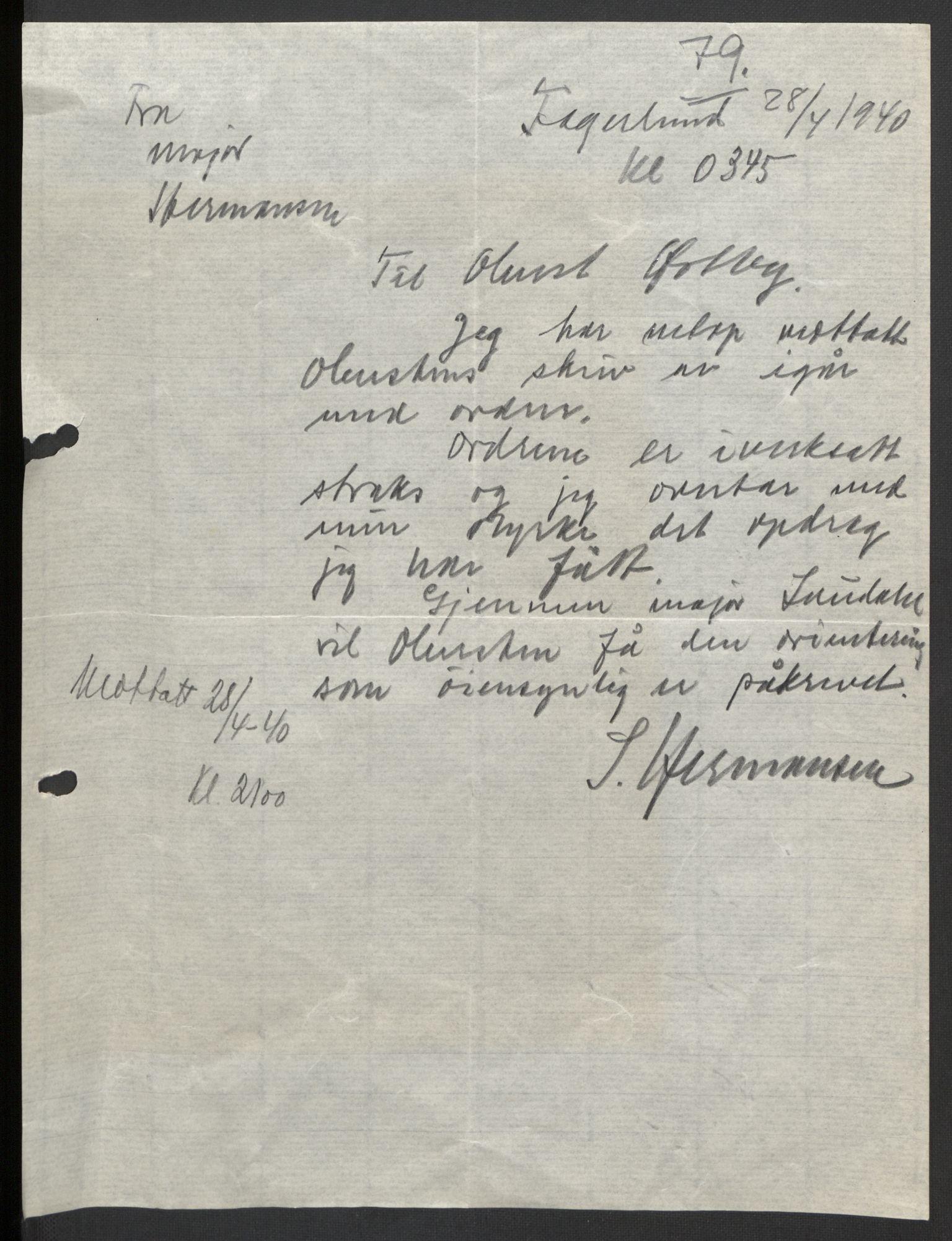 RA, Forsvaret, Forsvarets krigshistoriske avdeling, Y/Yb/L0104: II-C-11-430  -  4. Divisjon., 1940, s. 163