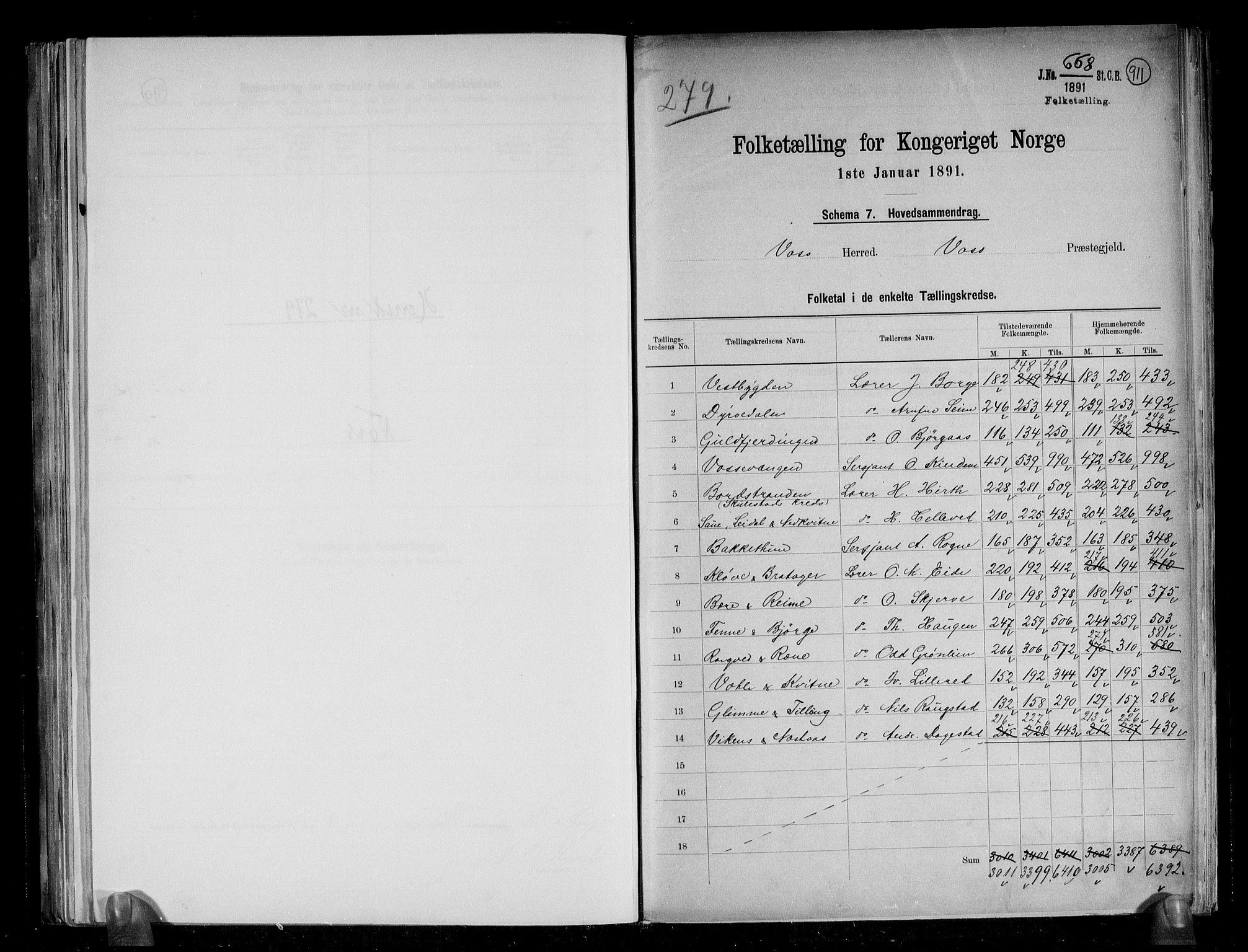 RA, Folketelling 1891 for 1235 Voss herred, 1891, s. 2