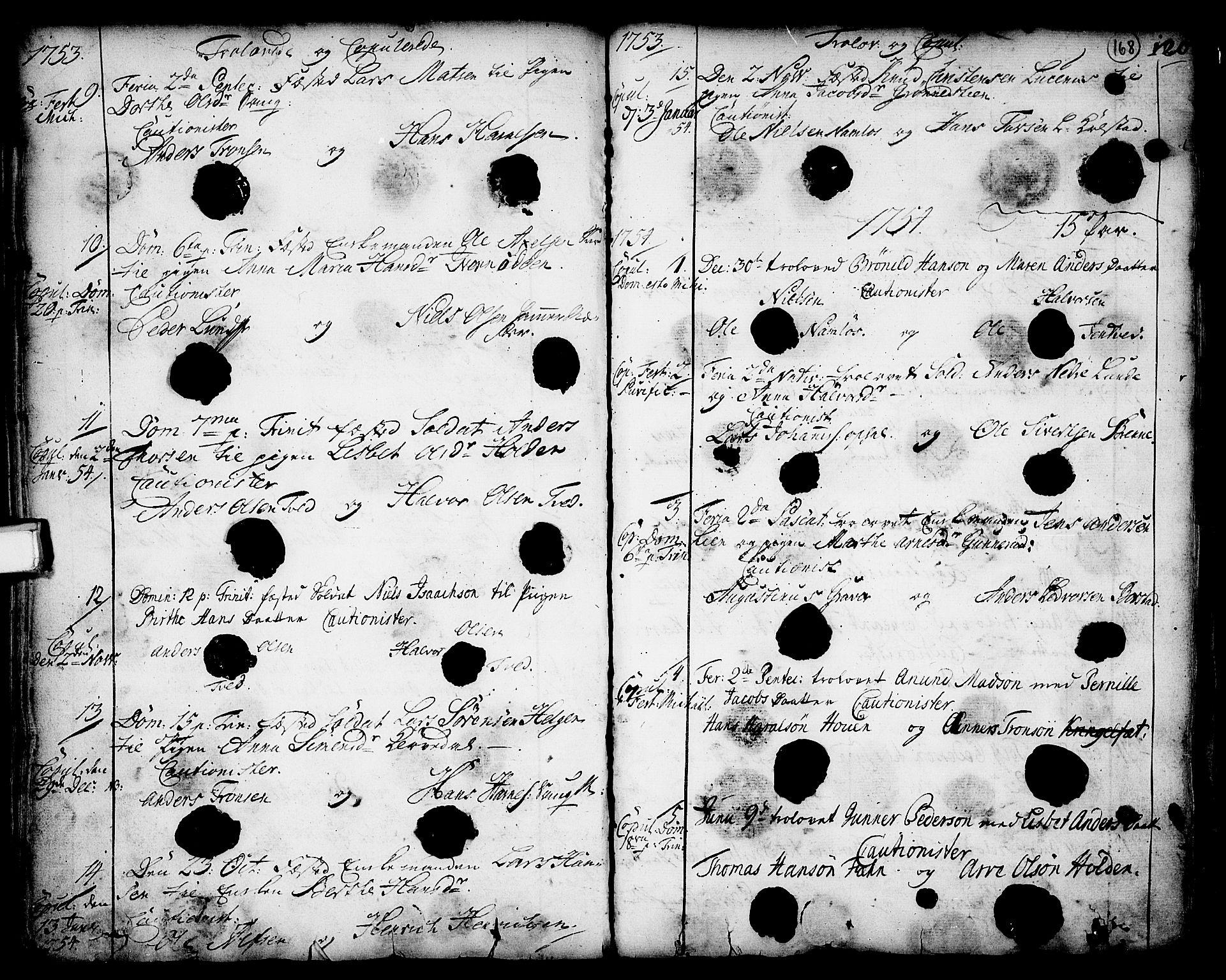 SAKO, Holla kirkebøker, F/Fa/L0001: Ministerialbok nr. 1, 1717-1779, s. 168