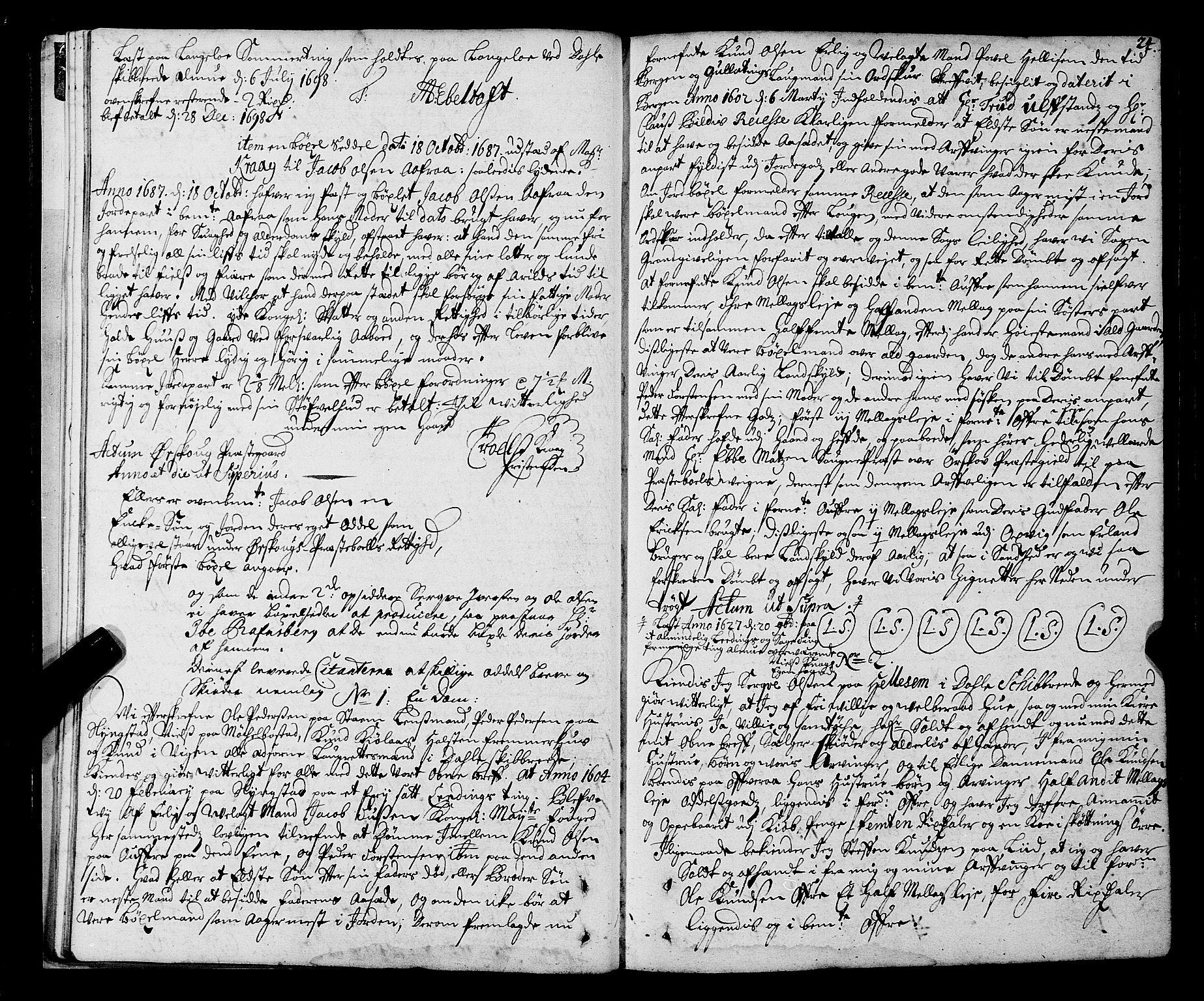 SAT, Sunnmøre sorenskriveri, 1/1A/L0020: Tingbok 19, 1711-1720, s. 23b-24a