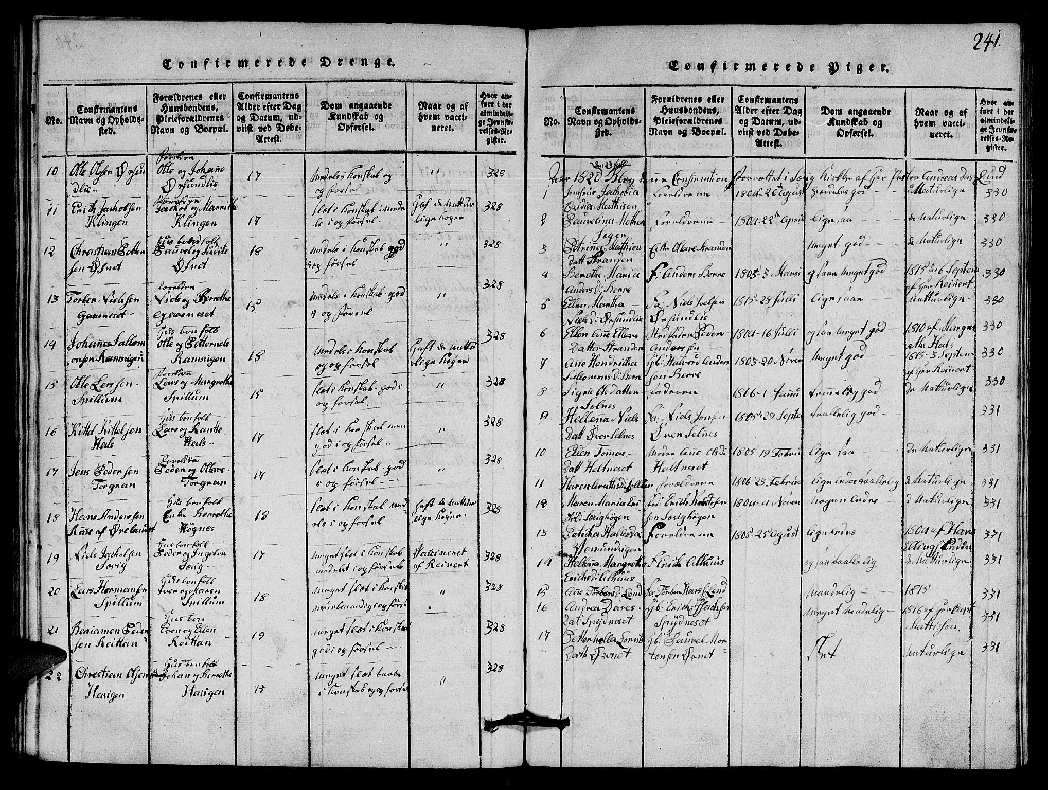 SAT, Ministerialprotokoller, klokkerbøker og fødselsregistre - Nord-Trøndelag, 770/L0590: Klokkerbok nr. 770C01, 1815-1824, s. 241