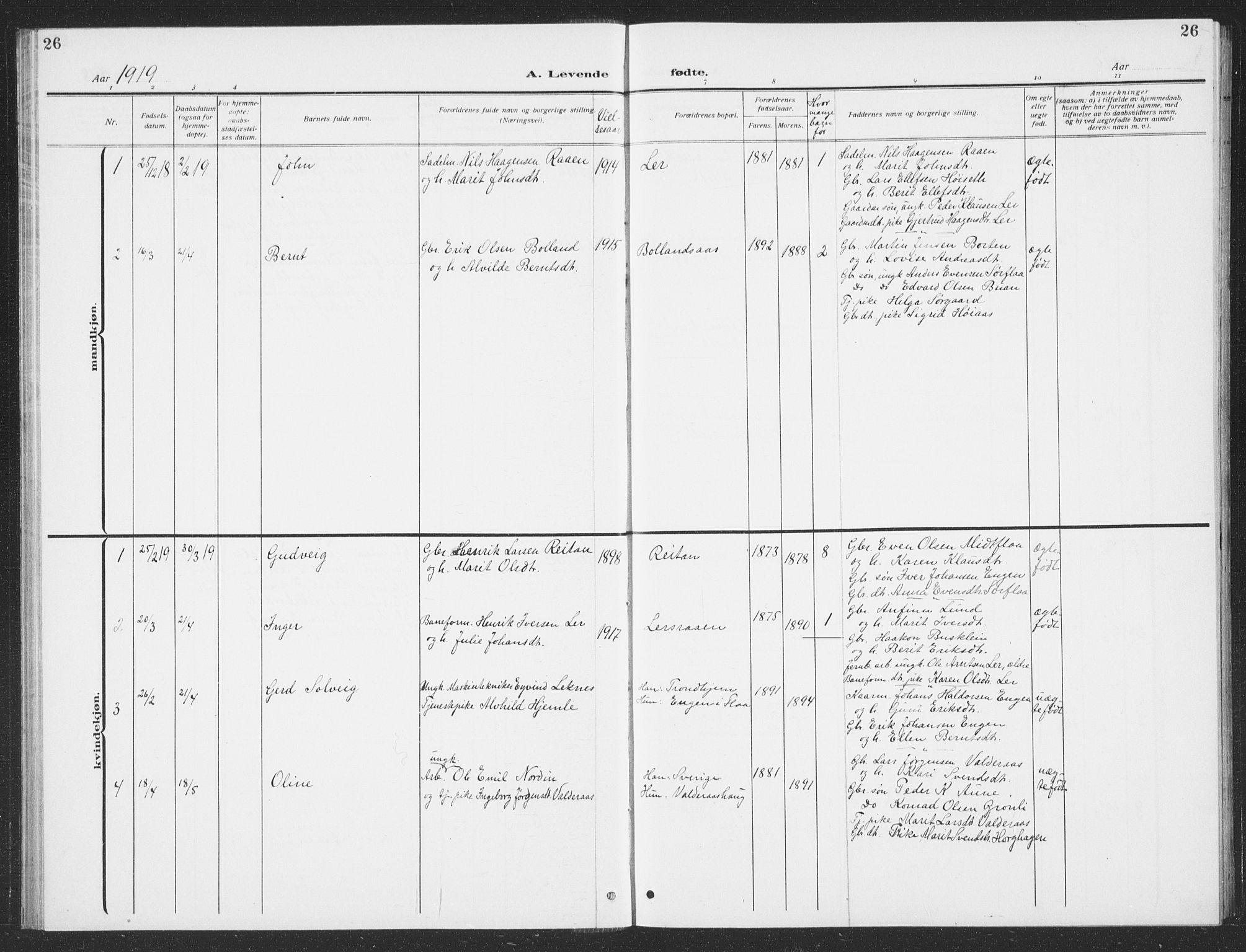 SAT, Ministerialprotokoller, klokkerbøker og fødselsregistre - Sør-Trøndelag, 693/L1124: Klokkerbok nr. 693C05, 1911-1941, s. 26