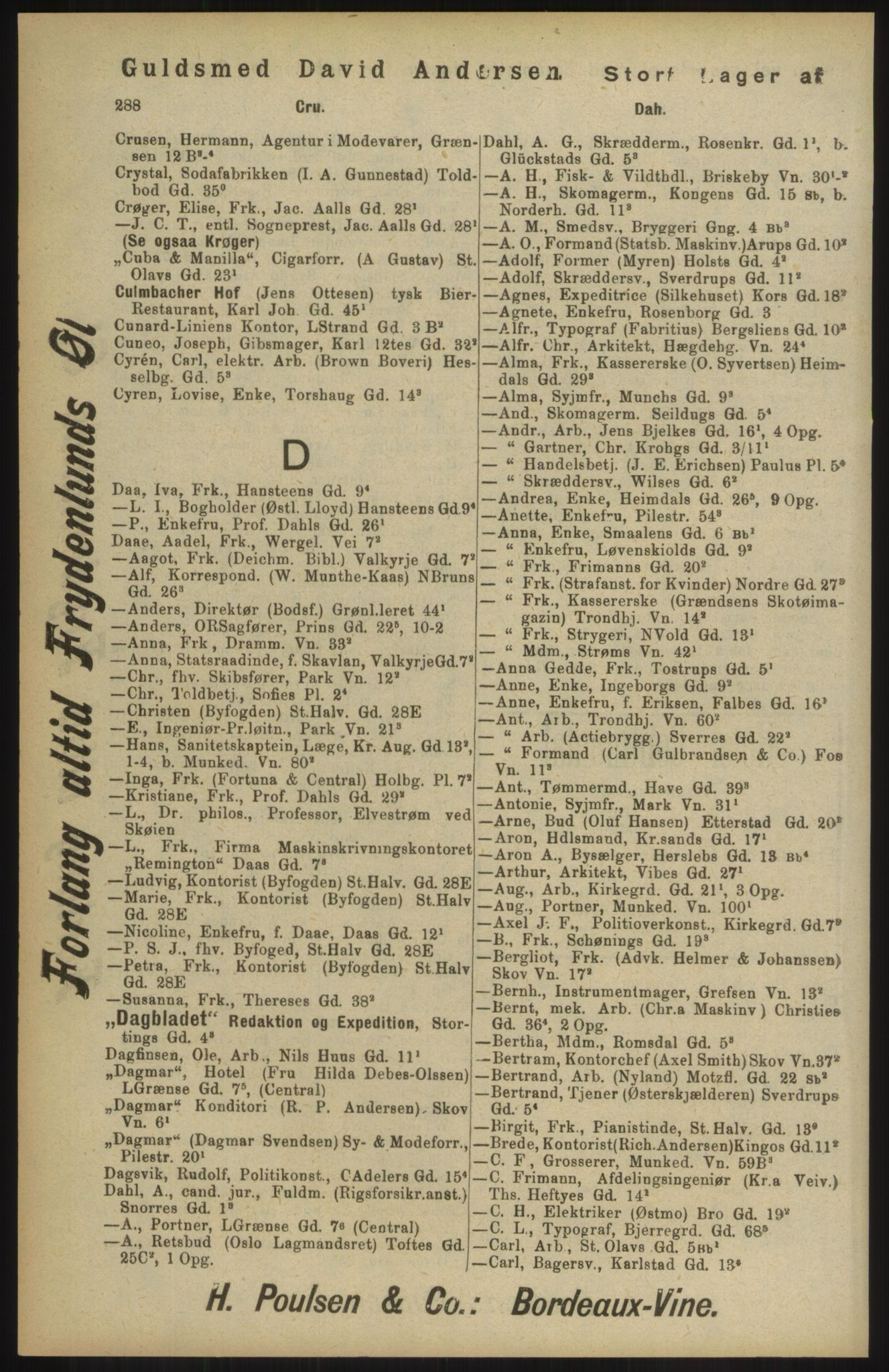 RA, Kristiania adressebok (publikasjon)*, 1904, s. 288