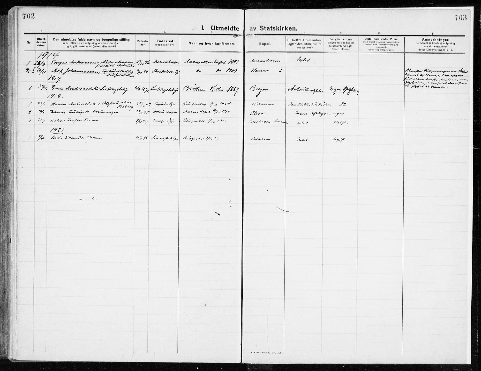 SAH, Ringsaker prestekontor, K/Ka/L0020: Ministerialbok nr. 20, 1913-1922, s. 702-703
