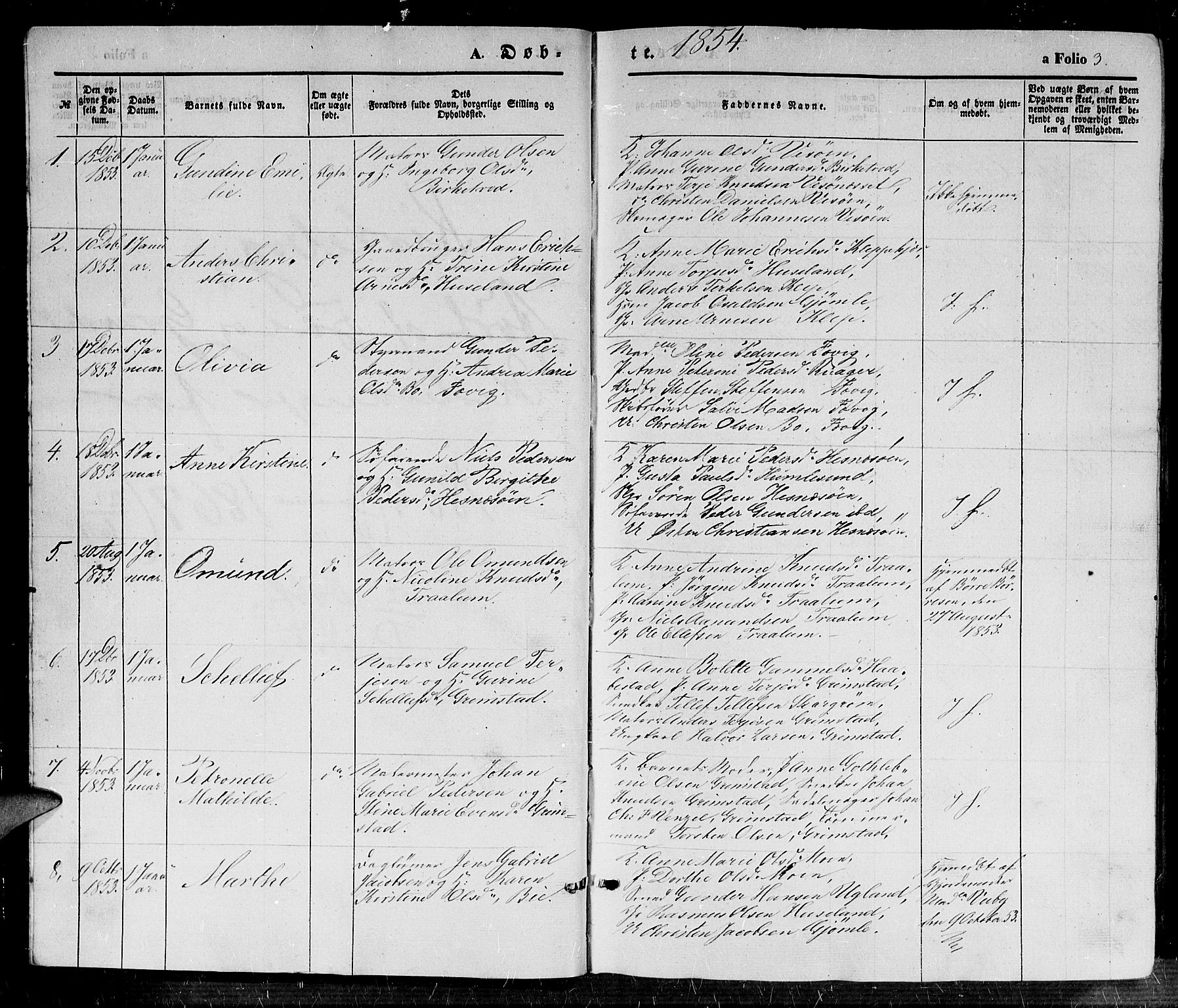 SAK, Fjære sokneprestkontor, F/Fb/L0008: Klokkerbok nr. B 8, 1854-1867, s. 3