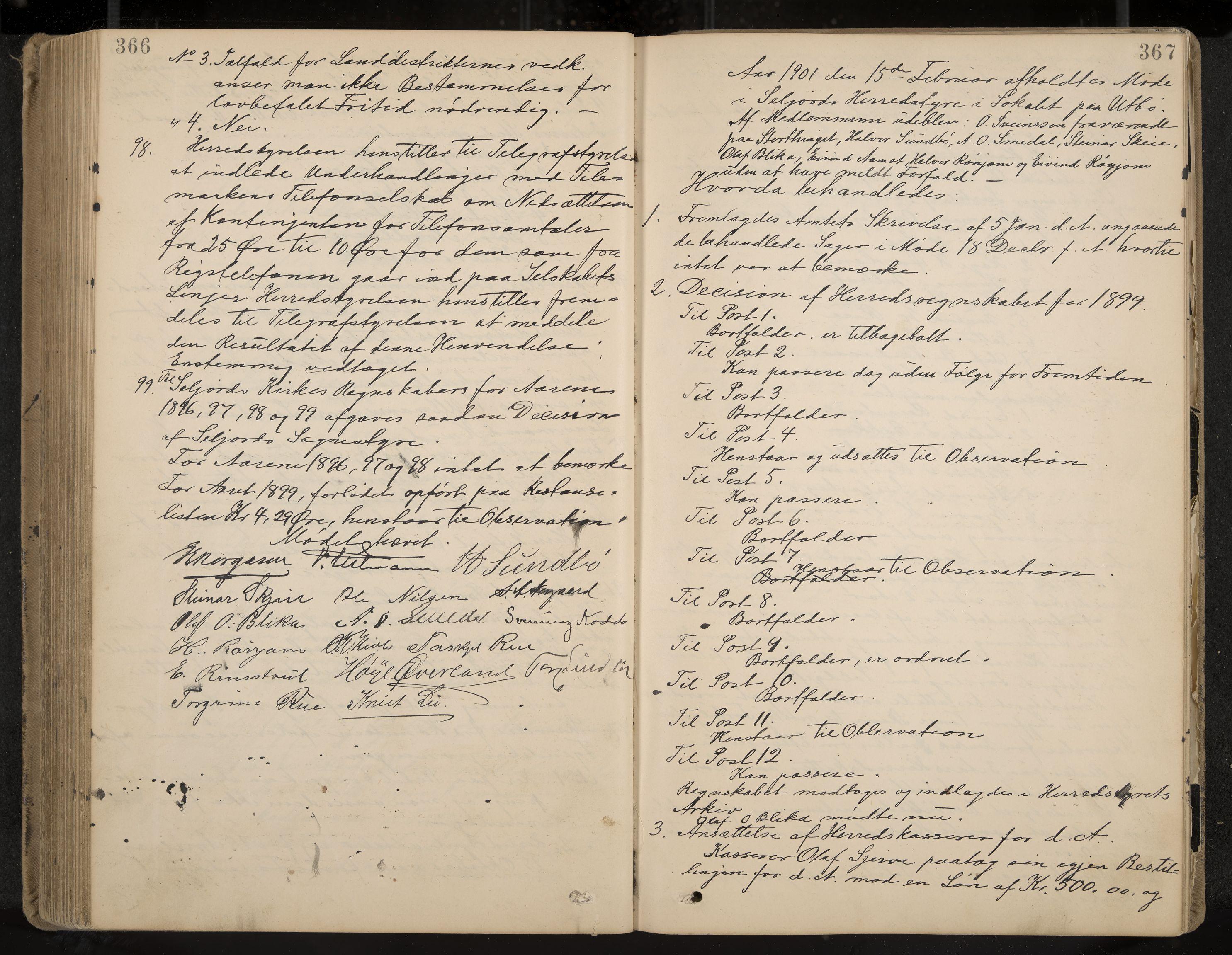 IKAK, Seljord formannskap og sentraladministrasjon, A/Aa/L0003: Møtebok med register, 1891-1905, s. 366-367