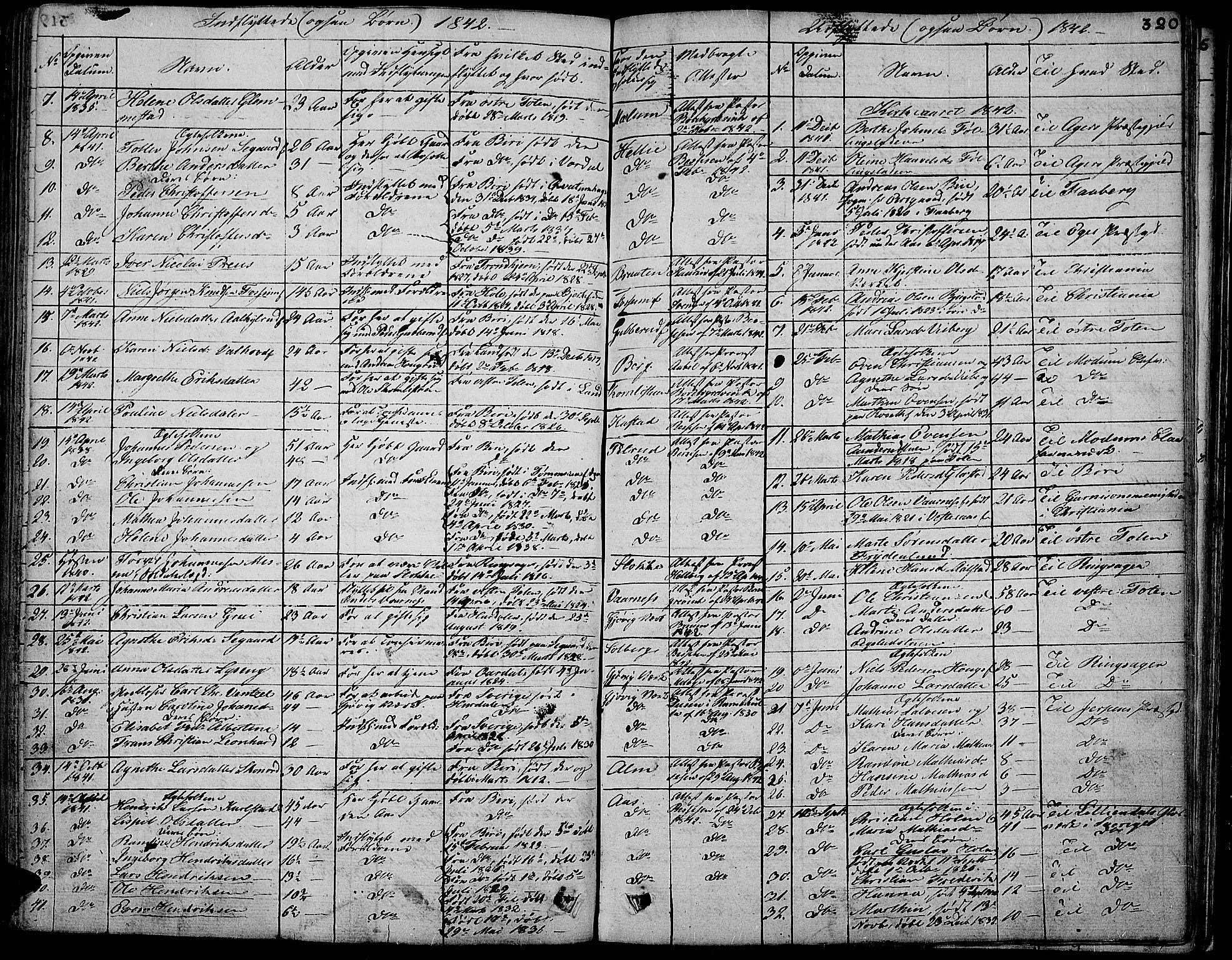 SAH, Vardal prestekontor, H/Ha/Hab/L0004: Klokkerbok nr. 4, 1831-1853, s. 320