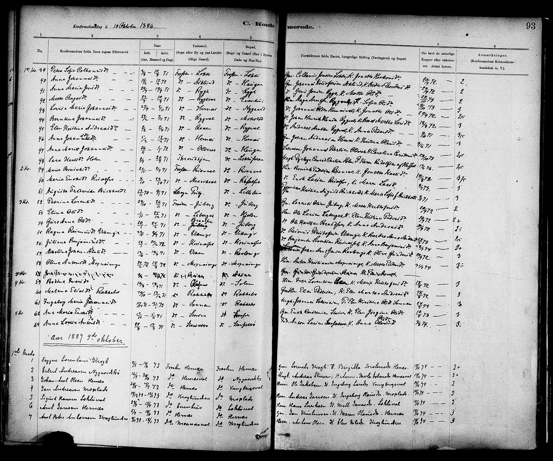 SAT, Ministerialprotokoller, klokkerbøker og fødselsregistre - Nord-Trøndelag, 713/L0120: Ministerialbok nr. 713A09, 1878-1887, s. 93