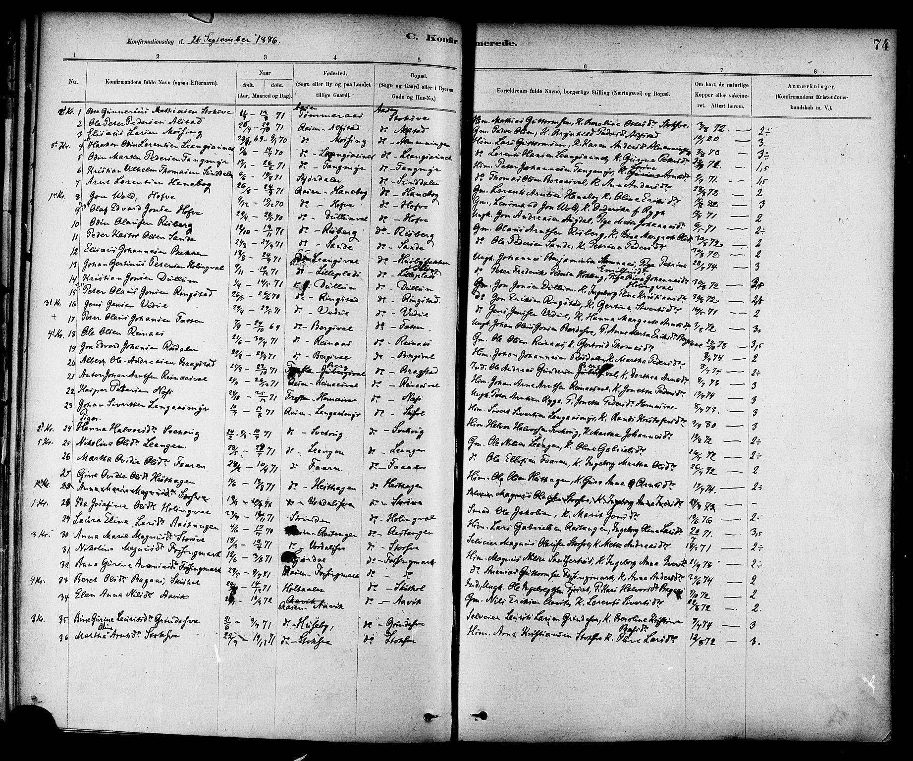 SAT, Ministerialprotokoller, klokkerbøker og fødselsregistre - Nord-Trøndelag, 714/L0130: Ministerialbok nr. 714A01, 1878-1895, s. 74