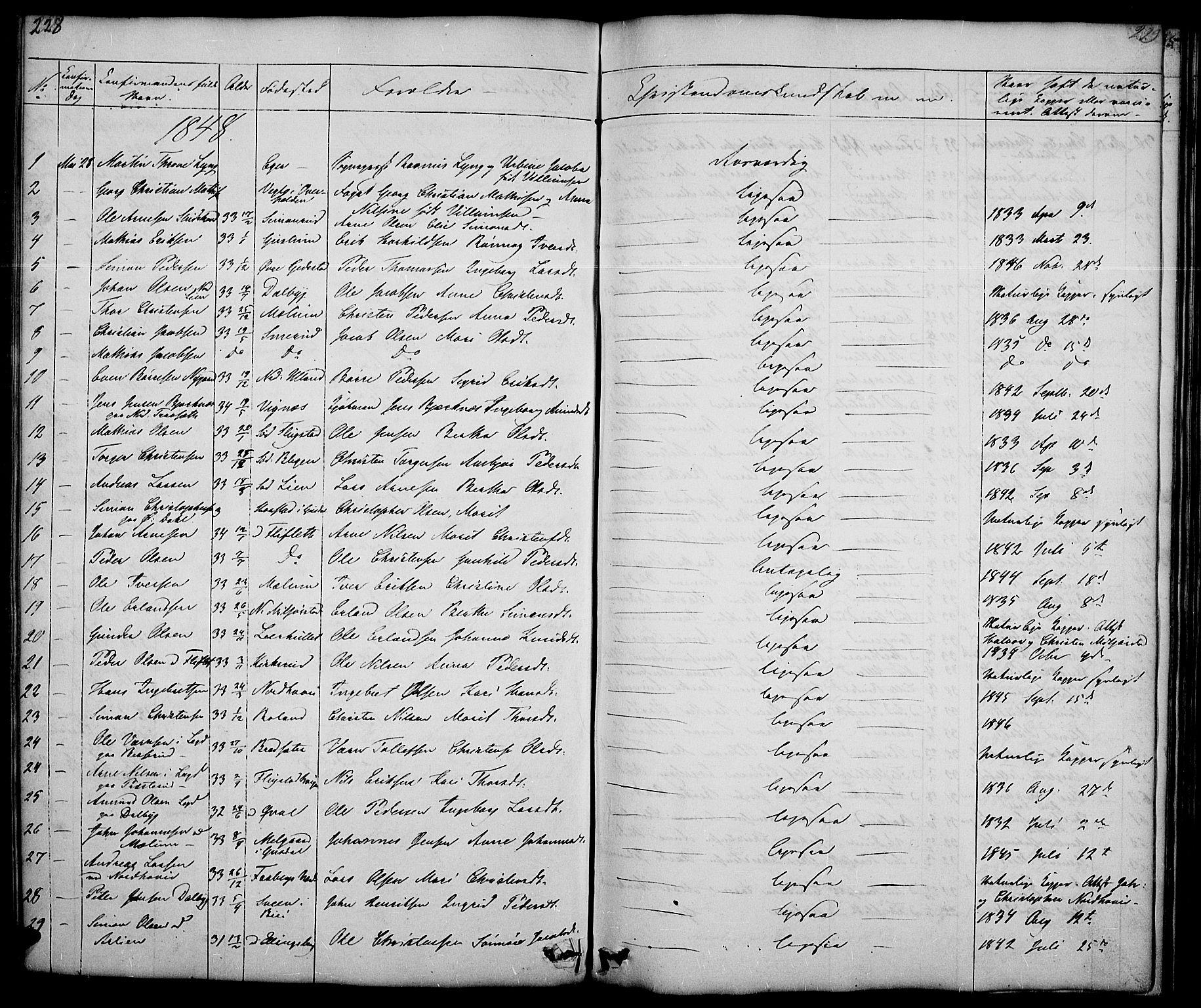 SAH, Fåberg prestekontor, Klokkerbok nr. 5, 1837-1864, s. 228-229