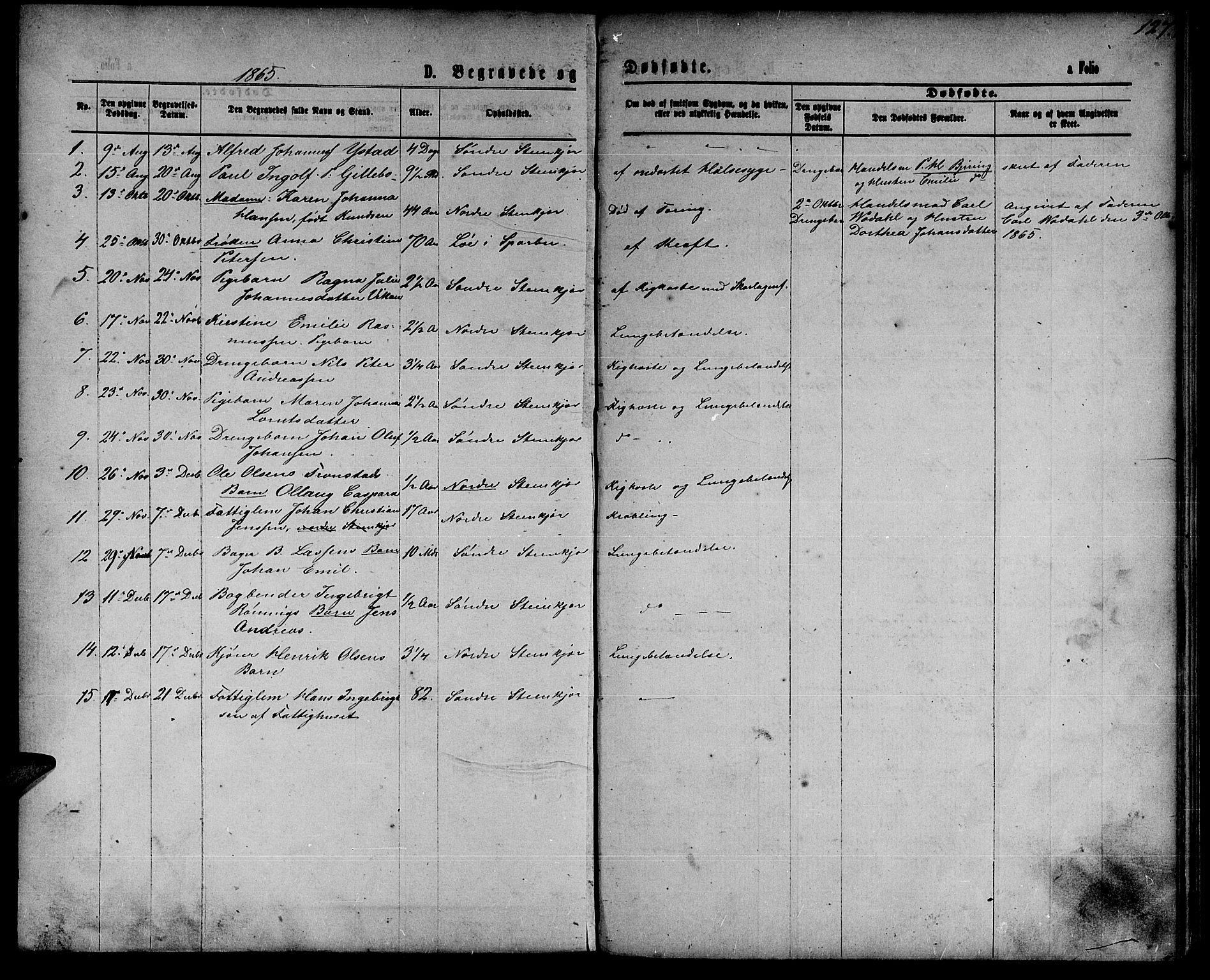 SAT, Ministerialprotokoller, klokkerbøker og fødselsregistre - Nord-Trøndelag, 739/L0373: Klokkerbok nr. 739C01, 1865-1882, s. 127