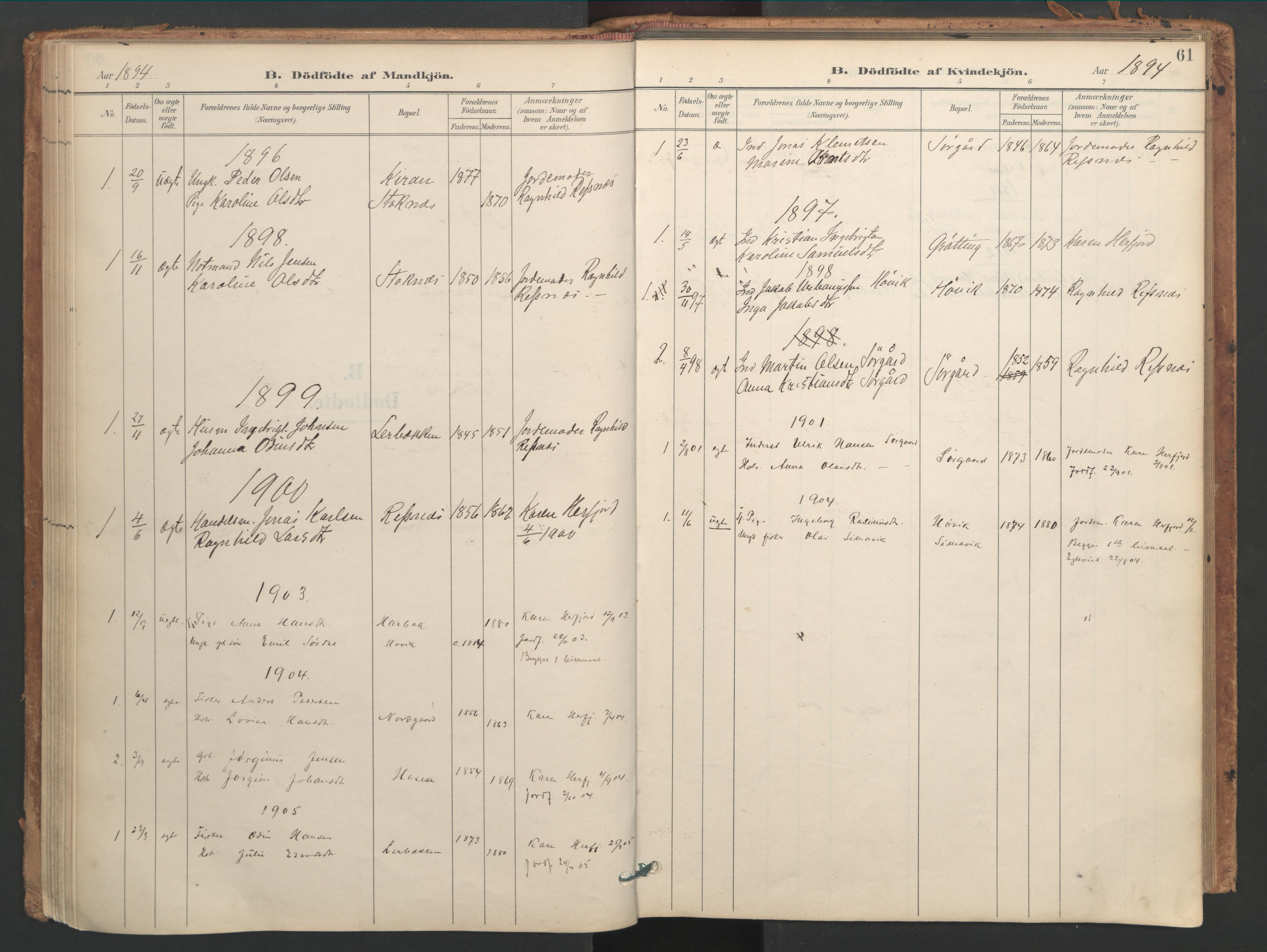 SAT, Ministerialprotokoller, klokkerbøker og fødselsregistre - Sør-Trøndelag, 656/L0693: Ministerialbok nr. 656A02, 1894-1913, s. 61