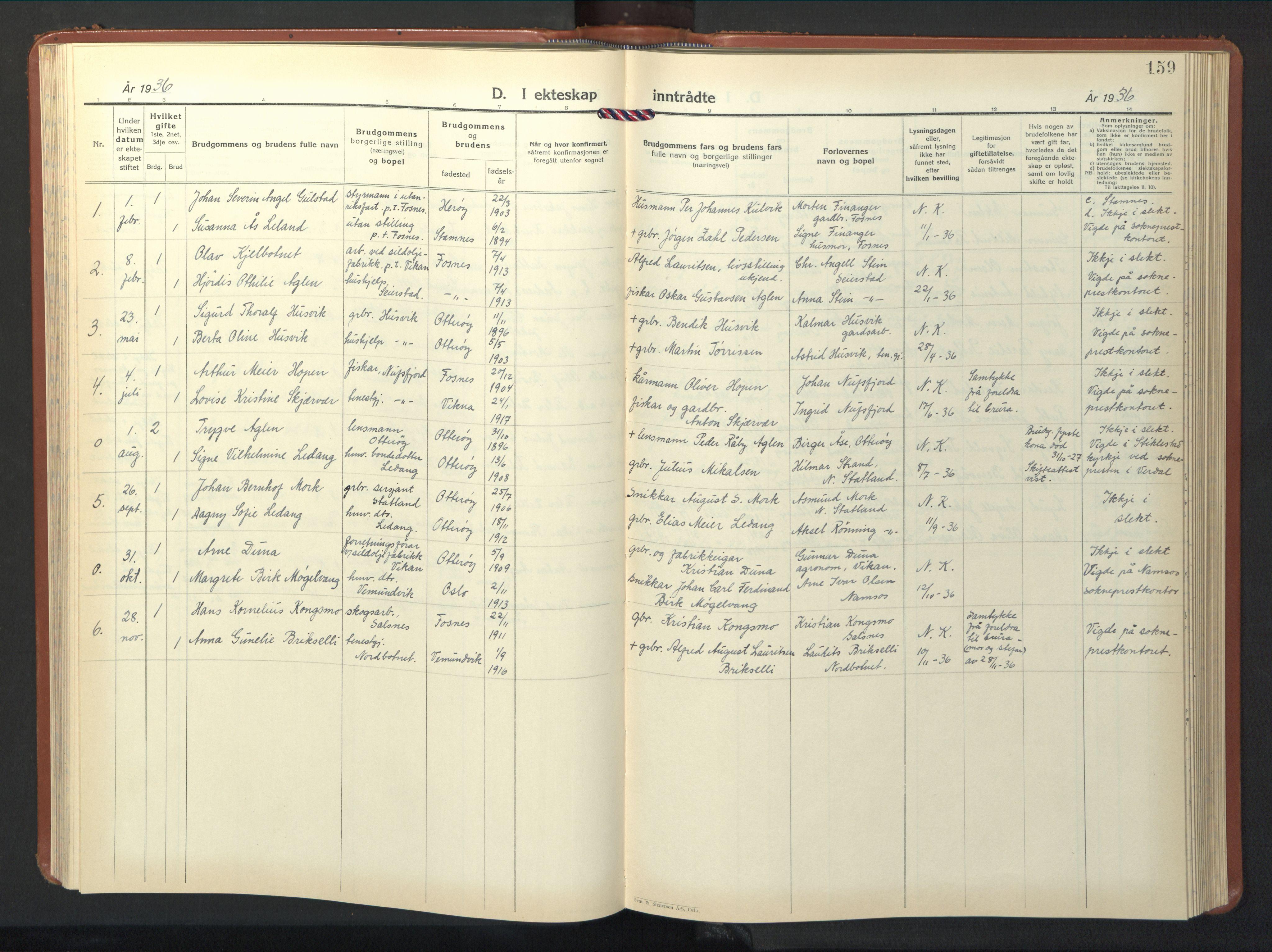 SAT, Ministerialprotokoller, klokkerbøker og fødselsregistre - Nord-Trøndelag, 774/L0631: Klokkerbok nr. 774C02, 1934-1950, s. 159