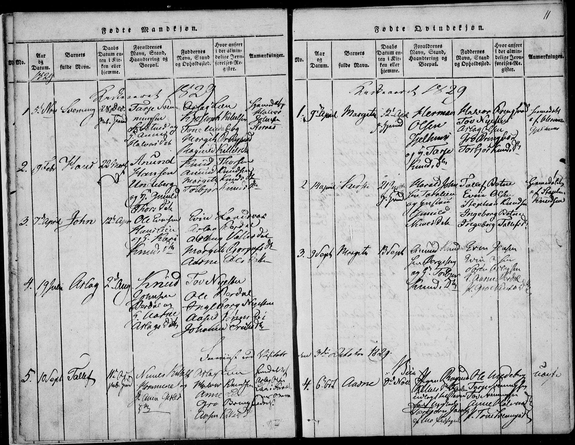 SAKO, Vinje kirkebøker, F/Fb/L0001: Ministerialbok nr. II 1, 1814-1843, s. 11