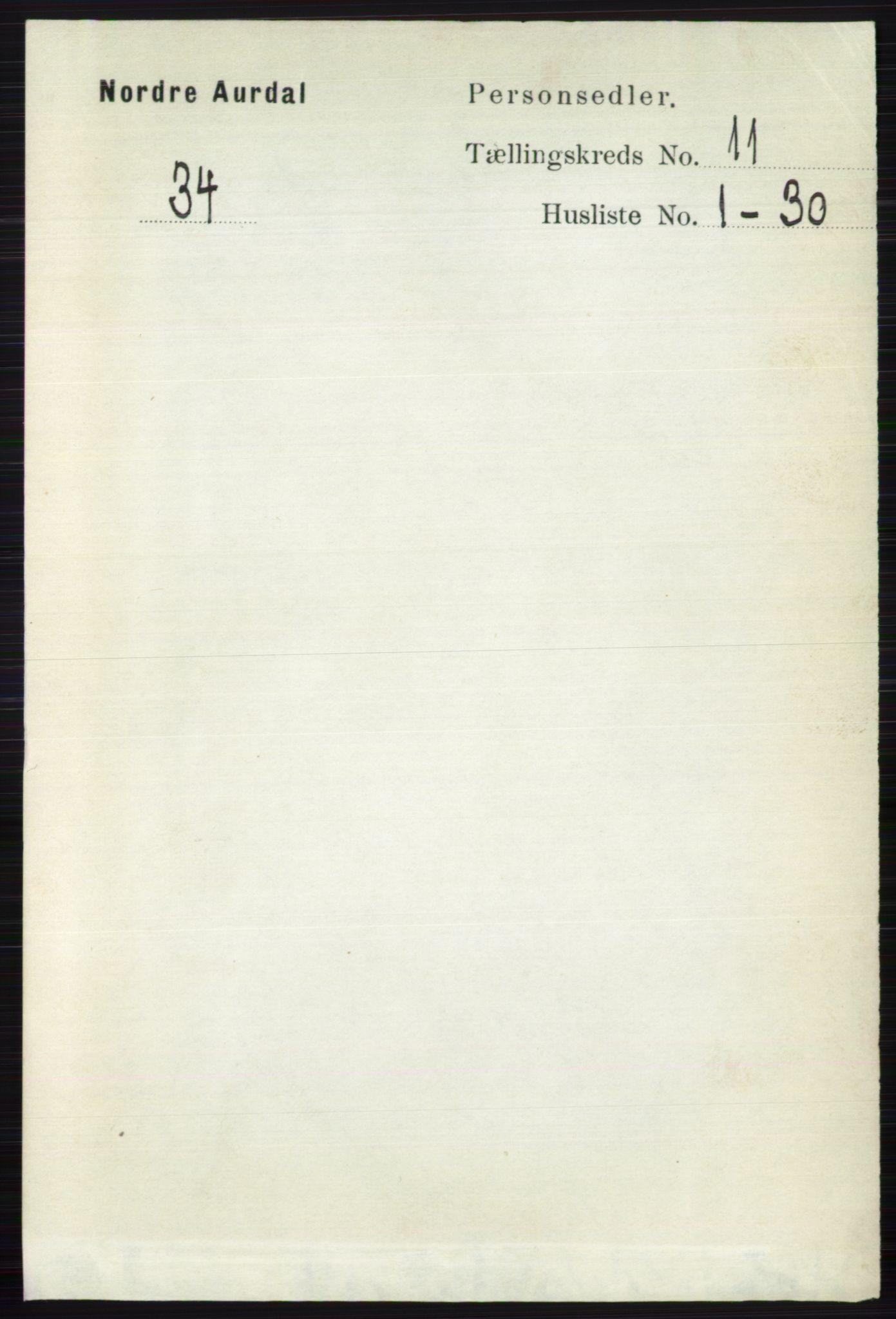 RA, Folketelling 1891 for 0542 Nord-Aurdal herred, 1891, s. 4114
