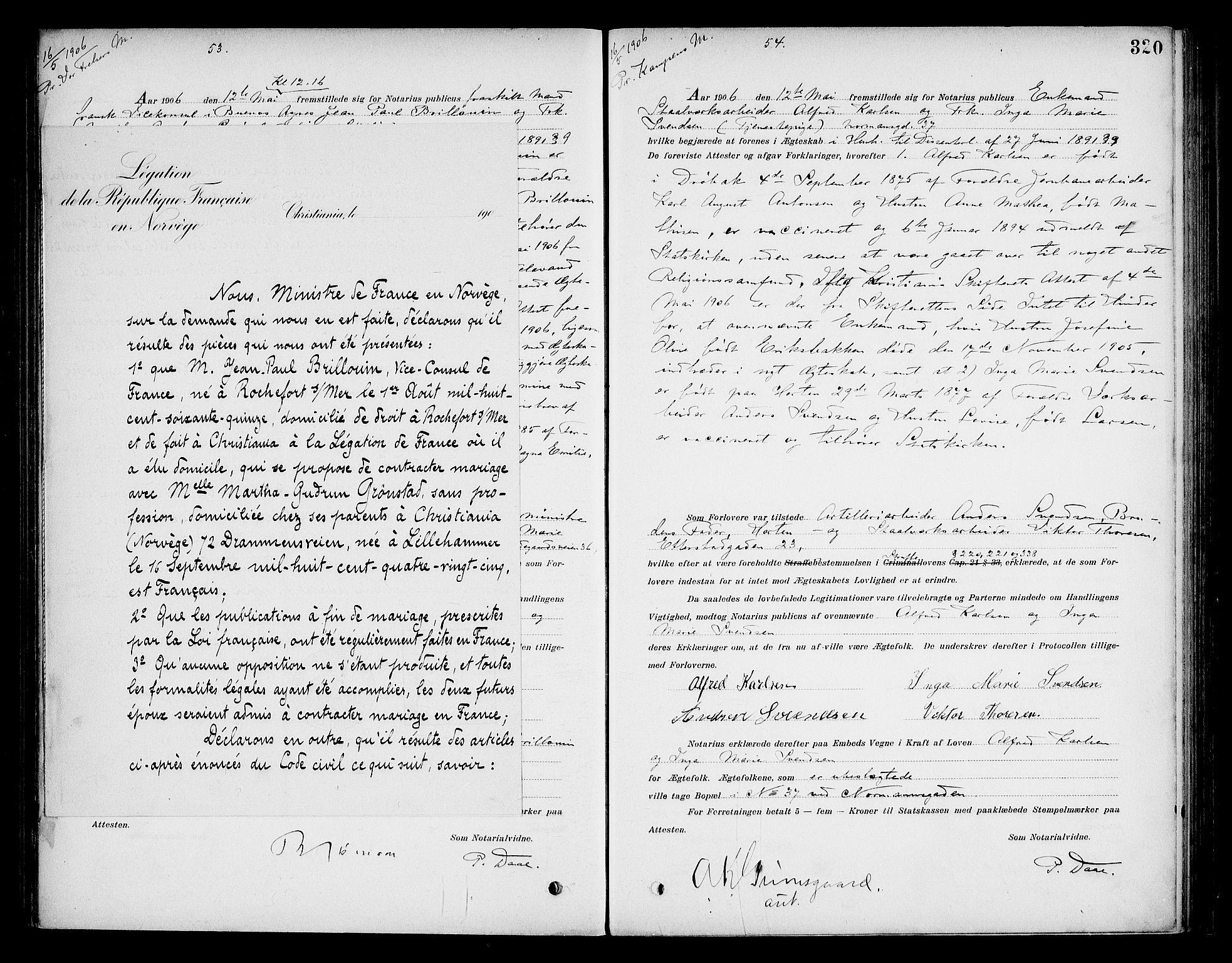 SAO, Oslo byfogd avd. I, L/Lb/Lbb/L0006: Notarialprotokoll, rekke II: Vigsler, 1902-1907, s. 319b-320a
