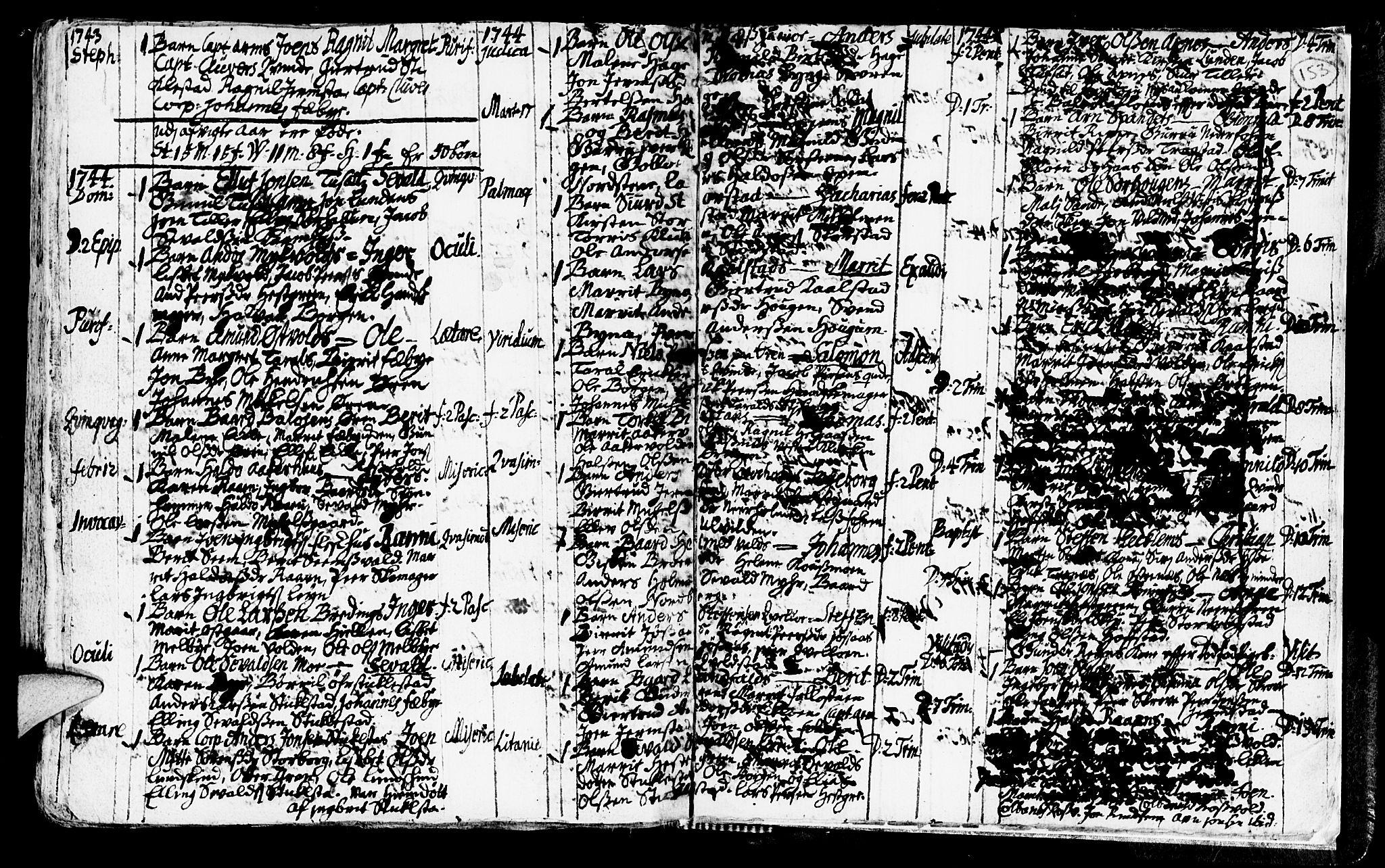 SAT, Ministerialprotokoller, klokkerbøker og fødselsregistre - Nord-Trøndelag, 723/L0230: Ministerialbok nr. 723A01, 1705-1747, s. 153