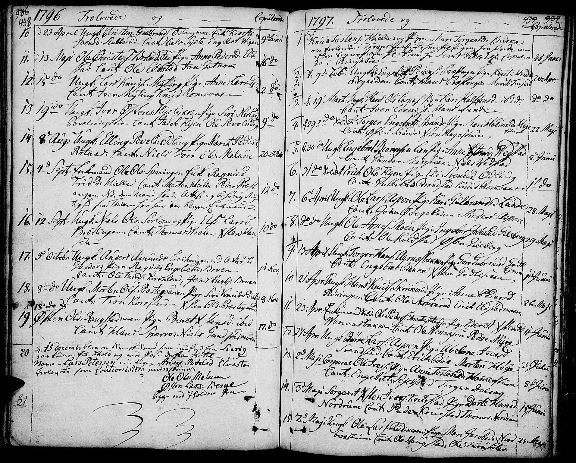 SAH, Ringebu prestekontor, Ministerialbok nr. 3, 1781-1820, s. 438-439