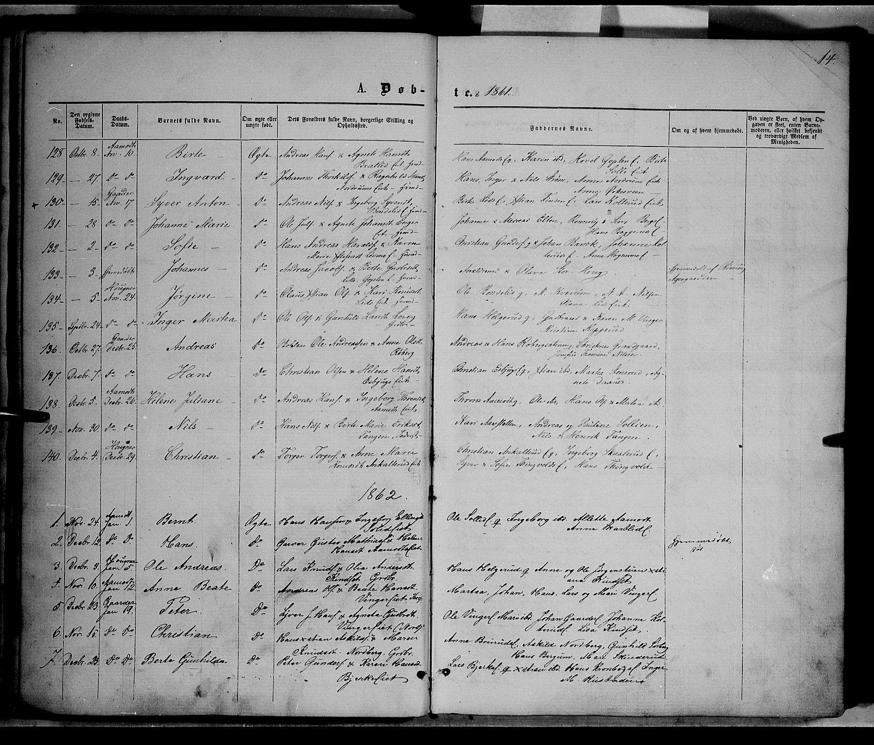 SAH, Nordre Land prestekontor, Ministerialbok nr. 1, 1860-1871, s. 14