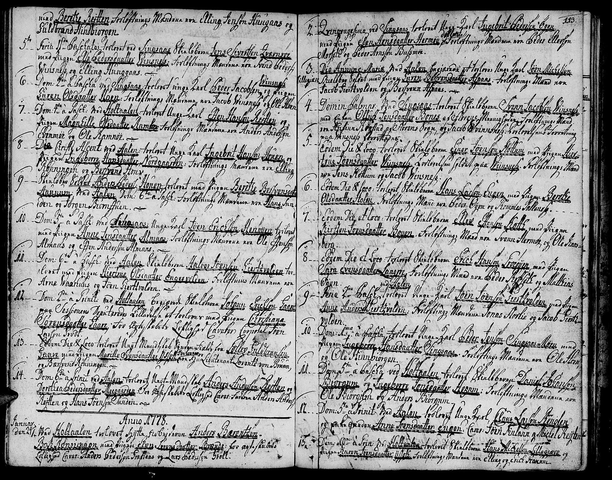 SAT, Ministerialprotokoller, klokkerbøker og fødselsregistre - Sør-Trøndelag, 685/L0952: Ministerialbok nr. 685A01, 1745-1804, s. 113