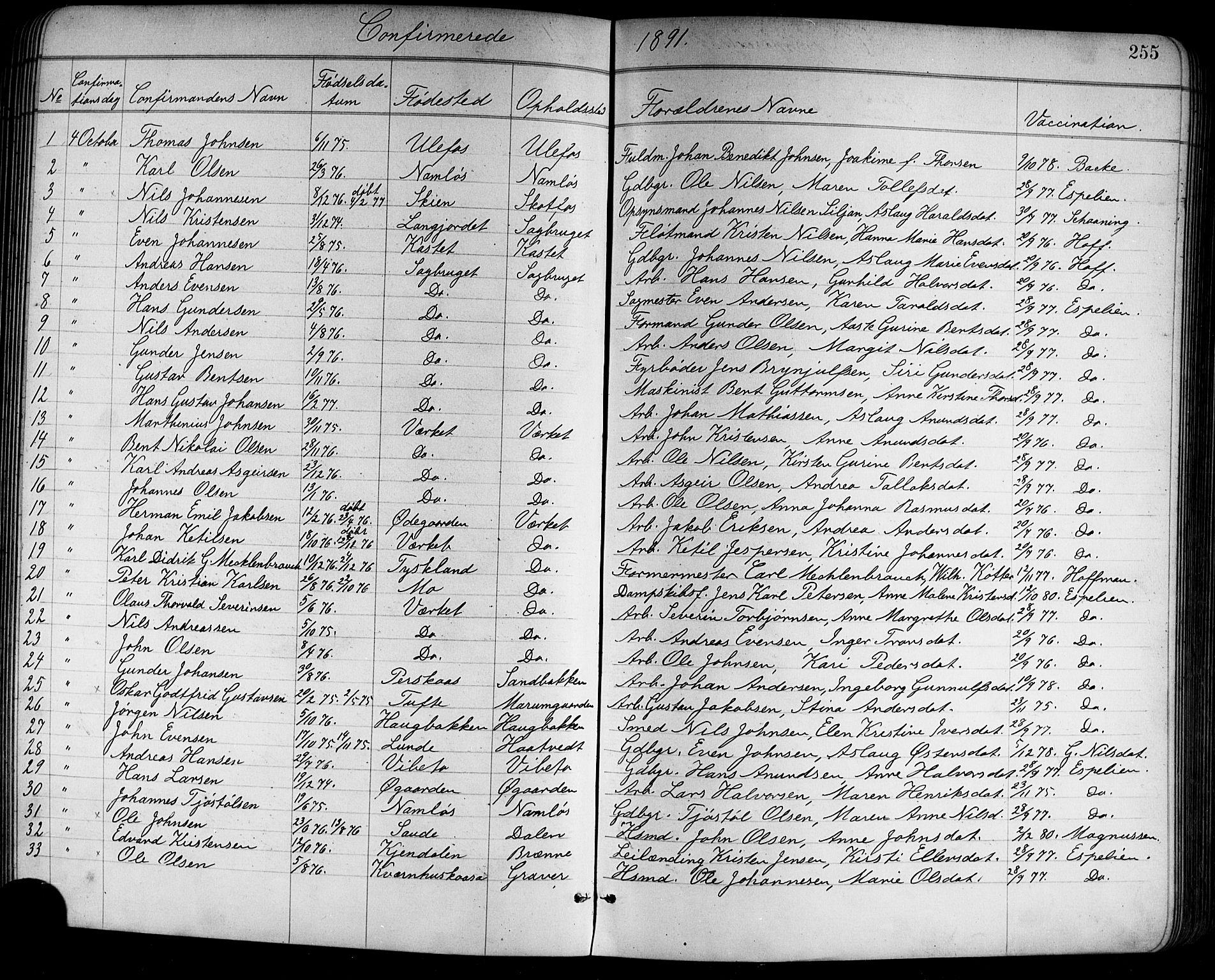 SAKO, Holla kirkebøker, G/Ga/L0005: Klokkerbok nr. I 5, 1891-1917, s. 255