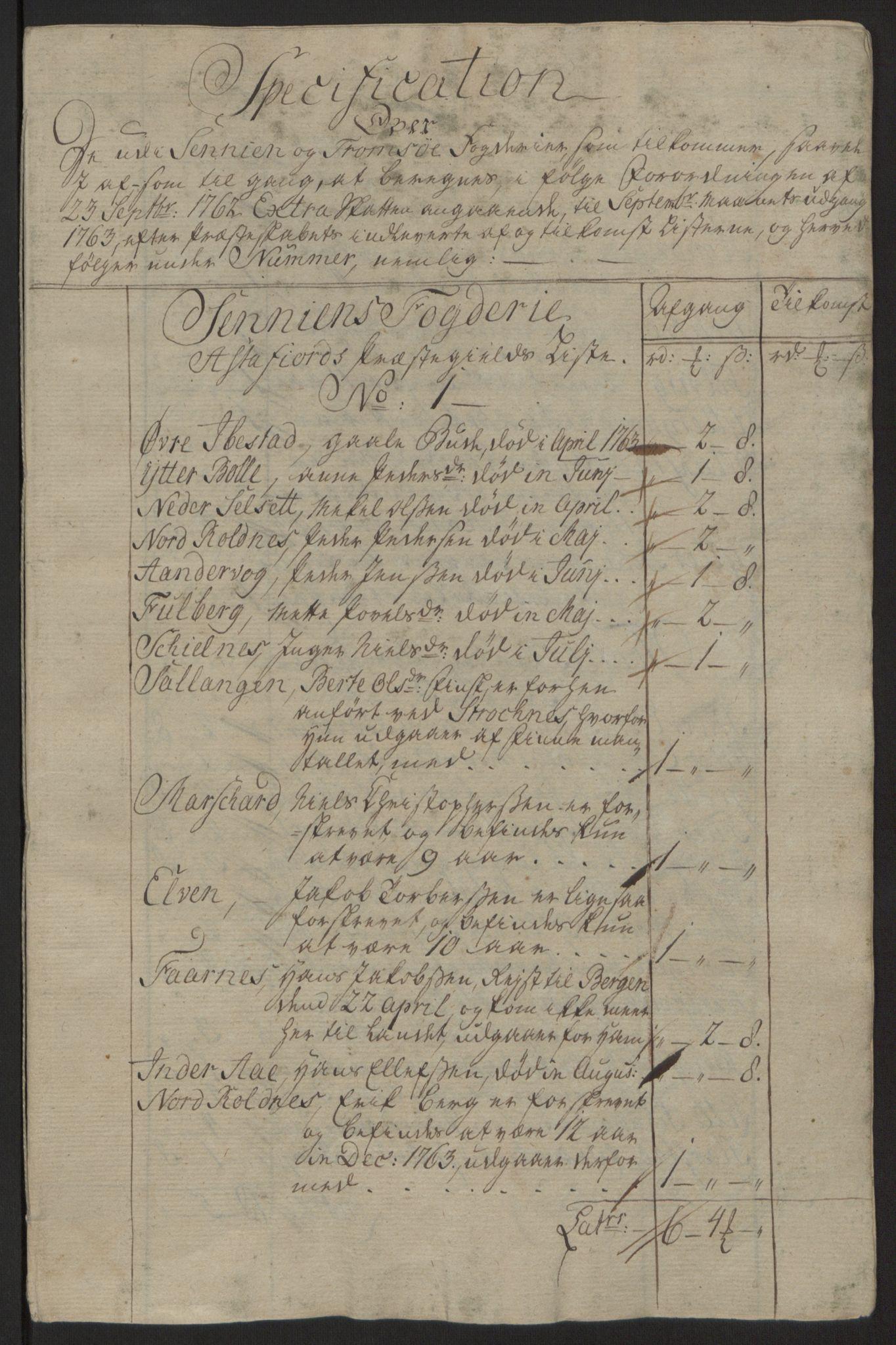 RA, Rentekammeret inntil 1814, Reviderte regnskaper, Fogderegnskap, R68/L4845: Ekstraskatten Senja og Troms, 1762-1765, s. 183