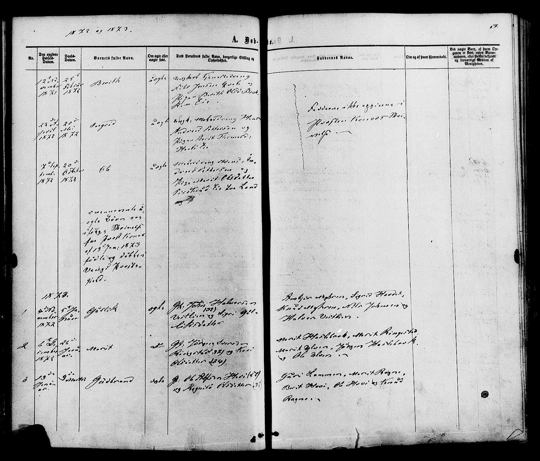 SAH, Vestre Slidre prestekontor, Ministerialbok nr. 3, 1865-1880, s. 58