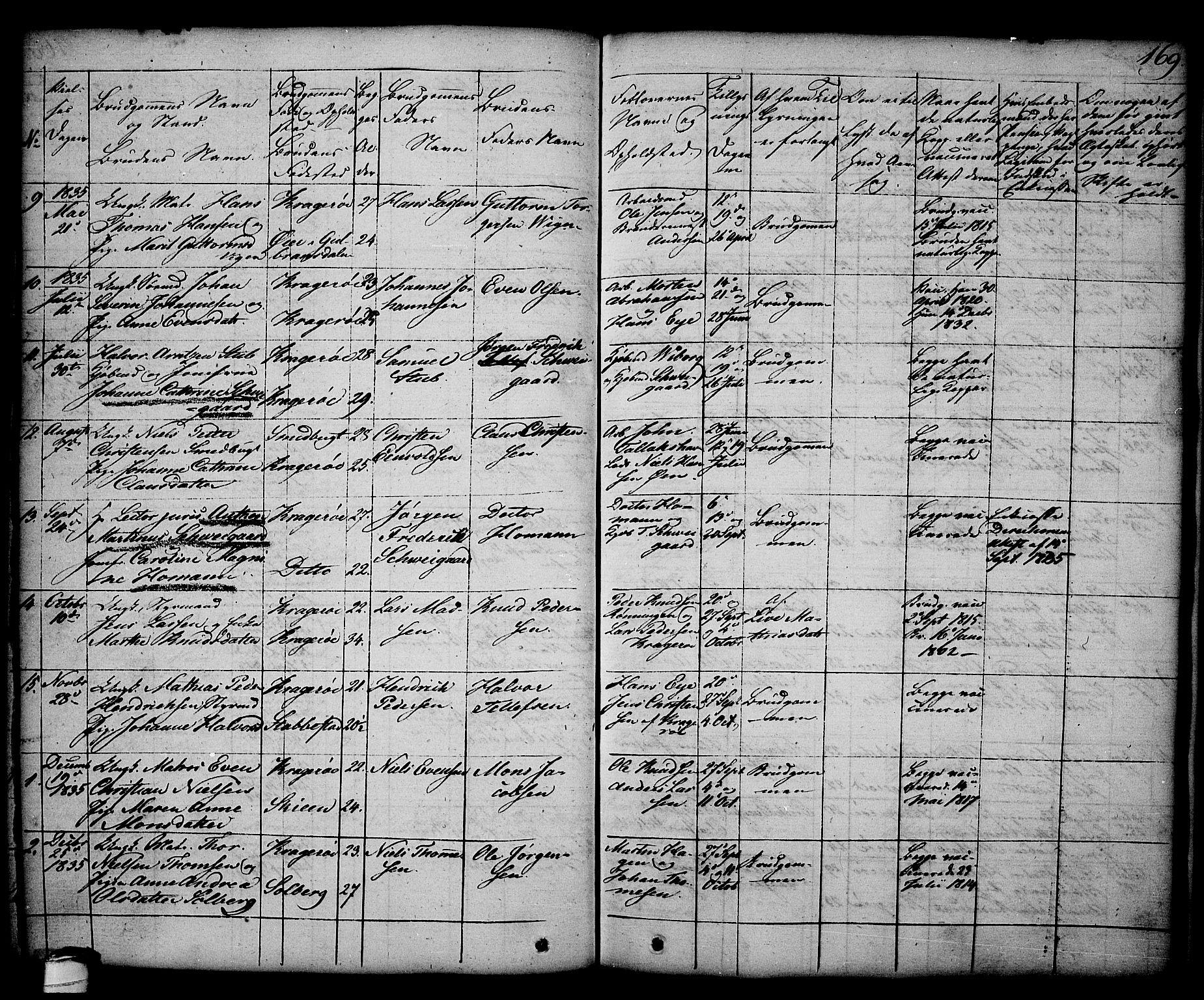 SAKO, Kragerø kirkebøker, G/Ga/L0003: Klokkerbok nr. 3, 1832-1852, s. 169