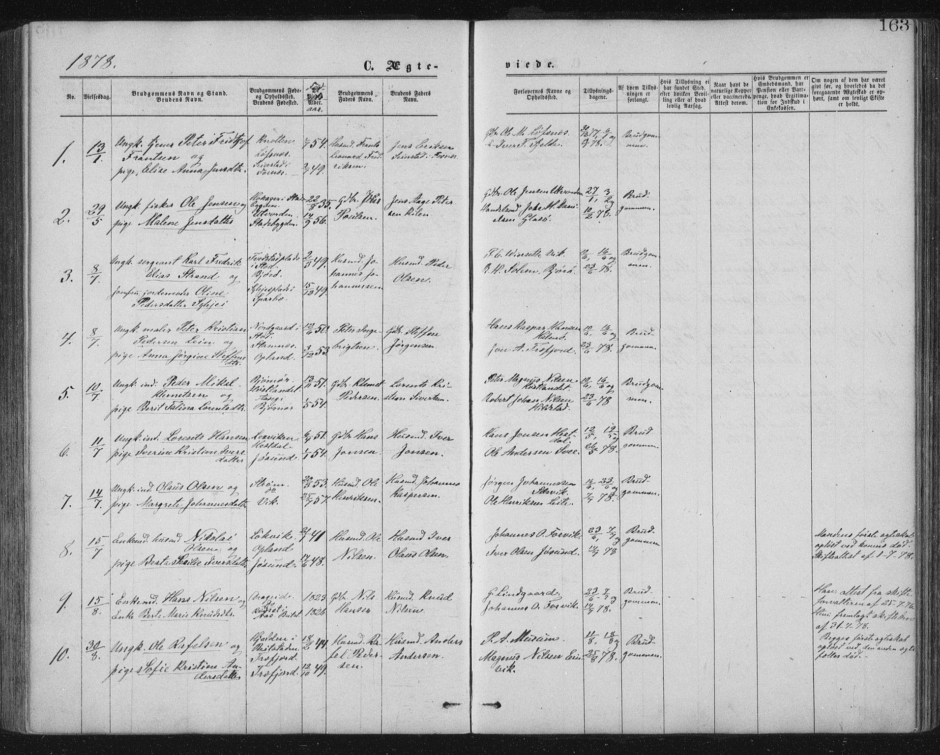 SAT, Ministerialprotokoller, klokkerbøker og fødselsregistre - Nord-Trøndelag, 771/L0596: Ministerialbok nr. 771A03, 1870-1884, s. 163