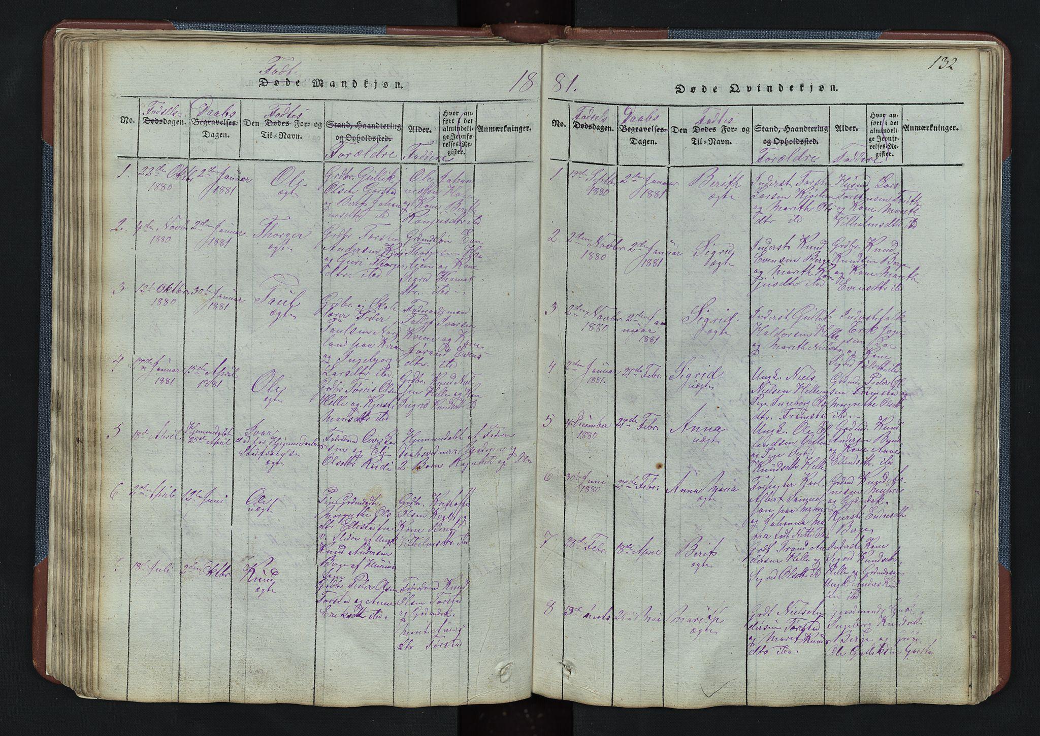 SAH, Vang prestekontor, Valdres, Klokkerbok nr. 3, 1814-1892, s. 132