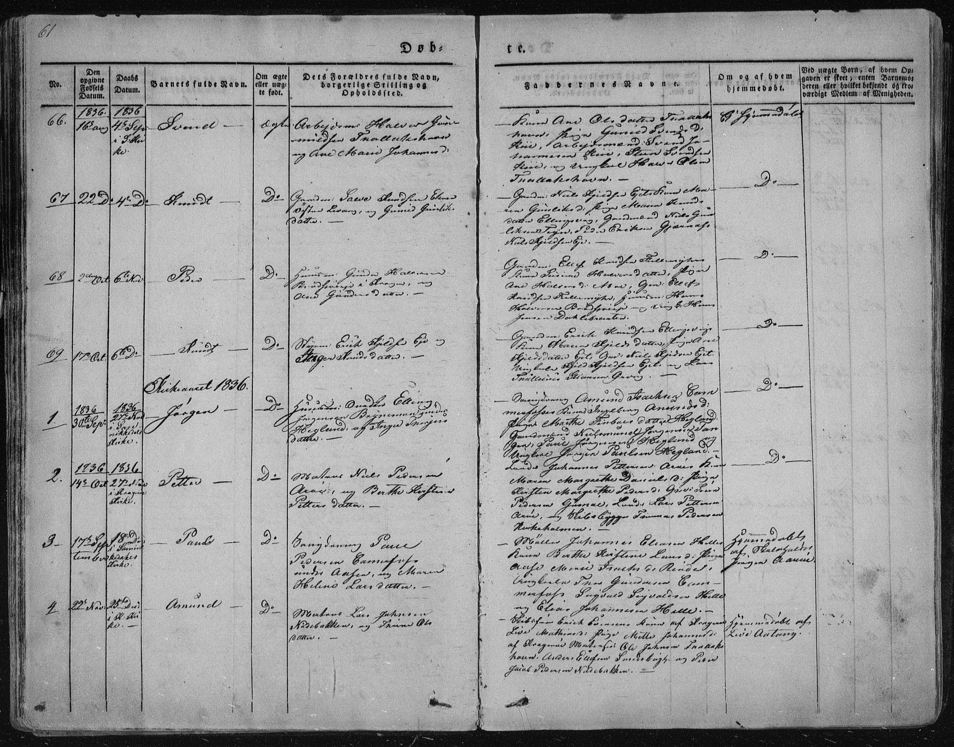 SAKO, Sannidal kirkebøker, F/Fa/L0006: Ministerialbok nr. 6, 1831-1847, s. 61