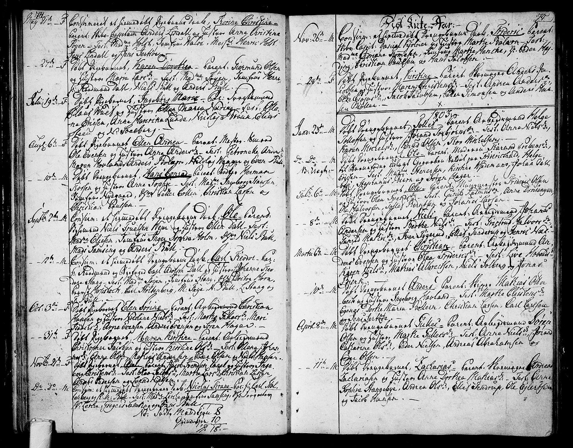 SAKO, Tønsberg kirkebøker, F/Fa/L0003: Ministerialbok nr. I 3, 1797-1814, s. 74-75