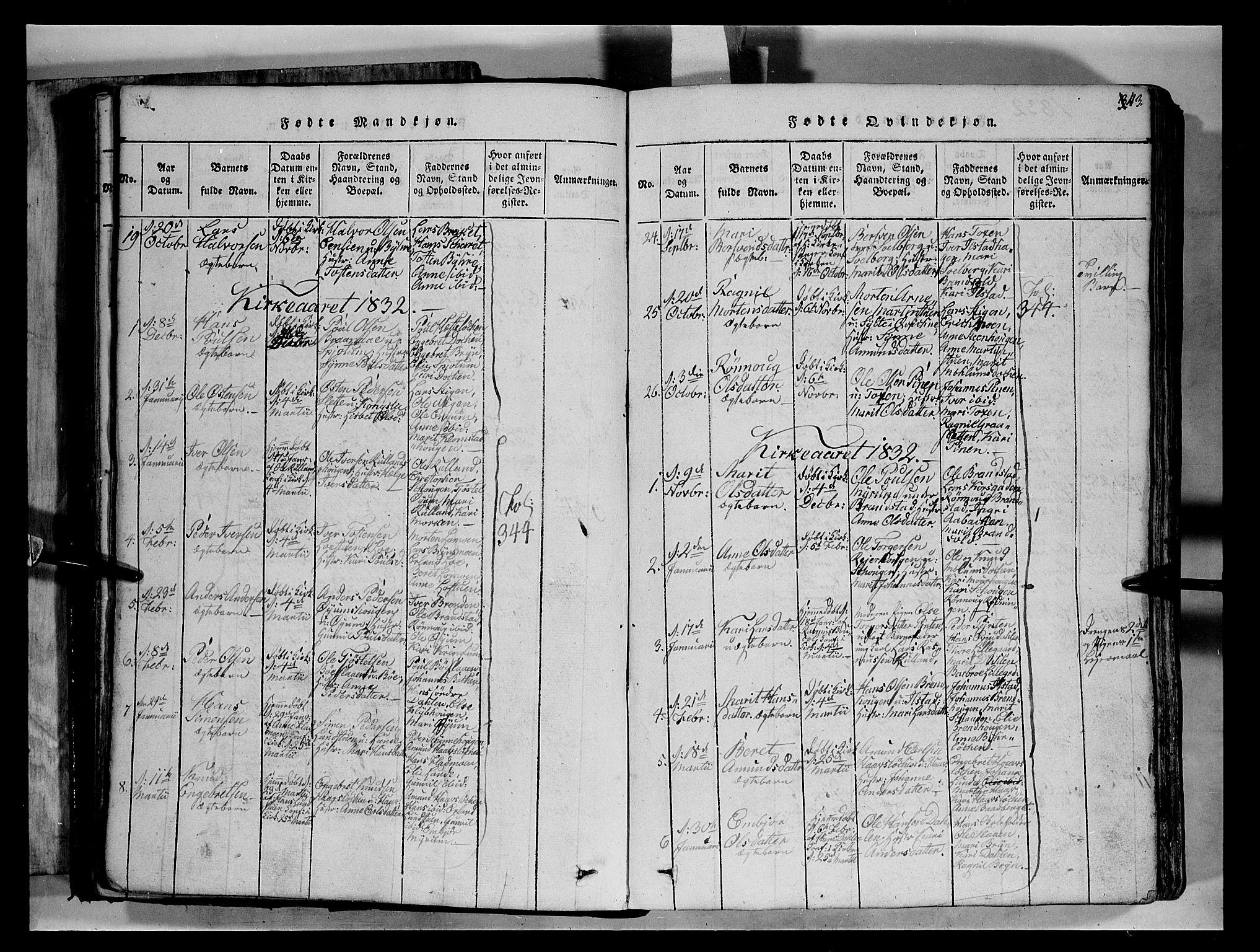 SAH, Fron prestekontor, H/Ha/Hab/L0004: Klokkerbok nr. 4, 1816-1850, s. 43