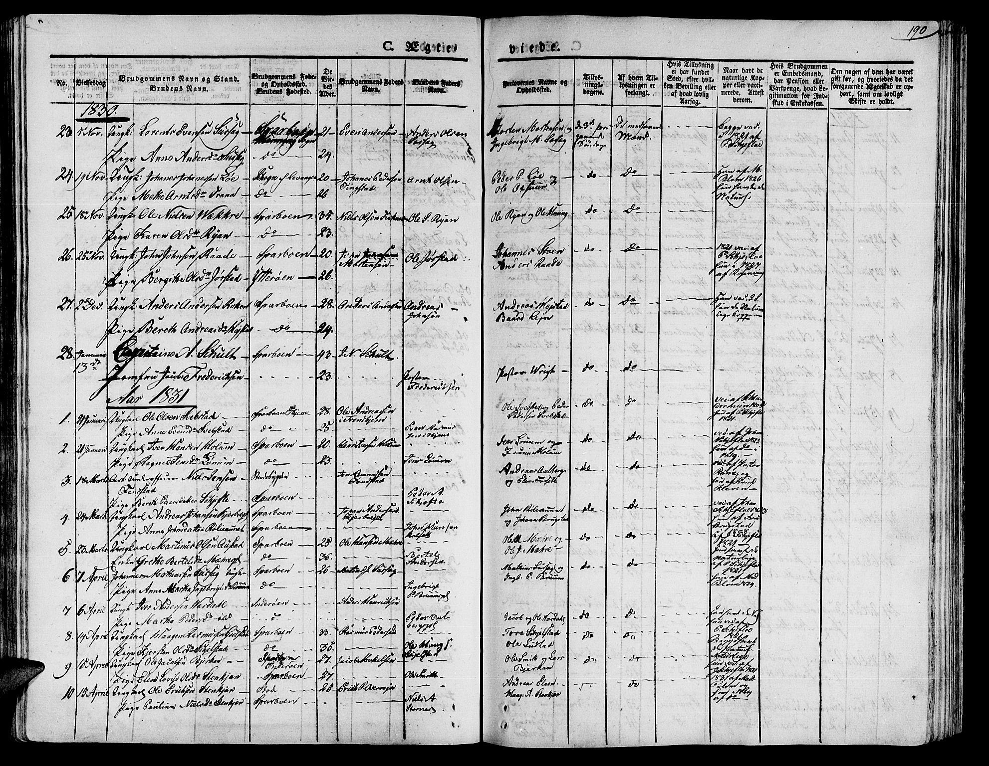 SAT, Ministerialprotokoller, klokkerbøker og fødselsregistre - Nord-Trøndelag, 735/L0336: Ministerialbok nr. 735A05 /1, 1825-1835, s. 190