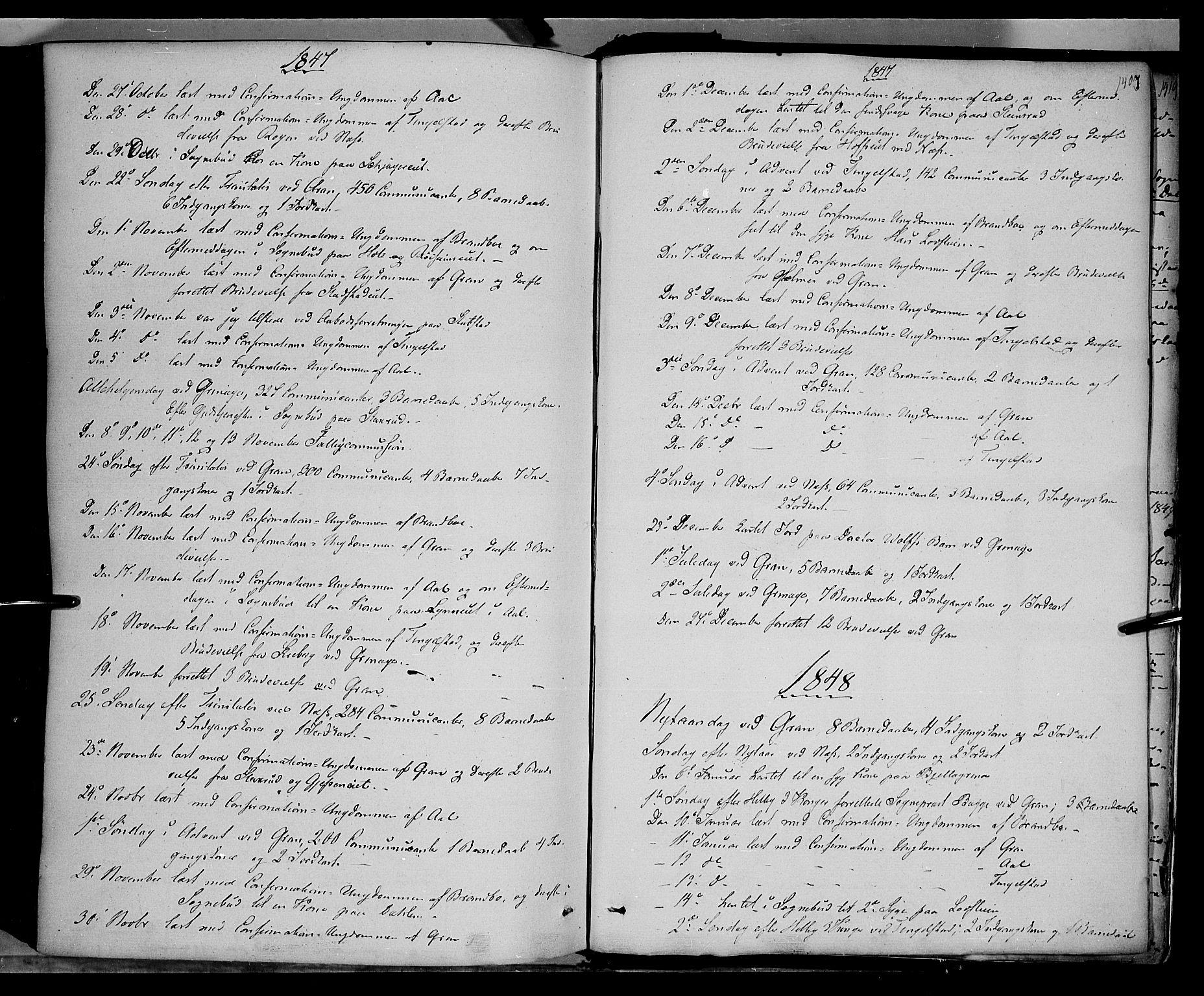 SAH, Gran prestekontor, Ministerialbok nr. 11, 1842-1856, s. 1406-1407