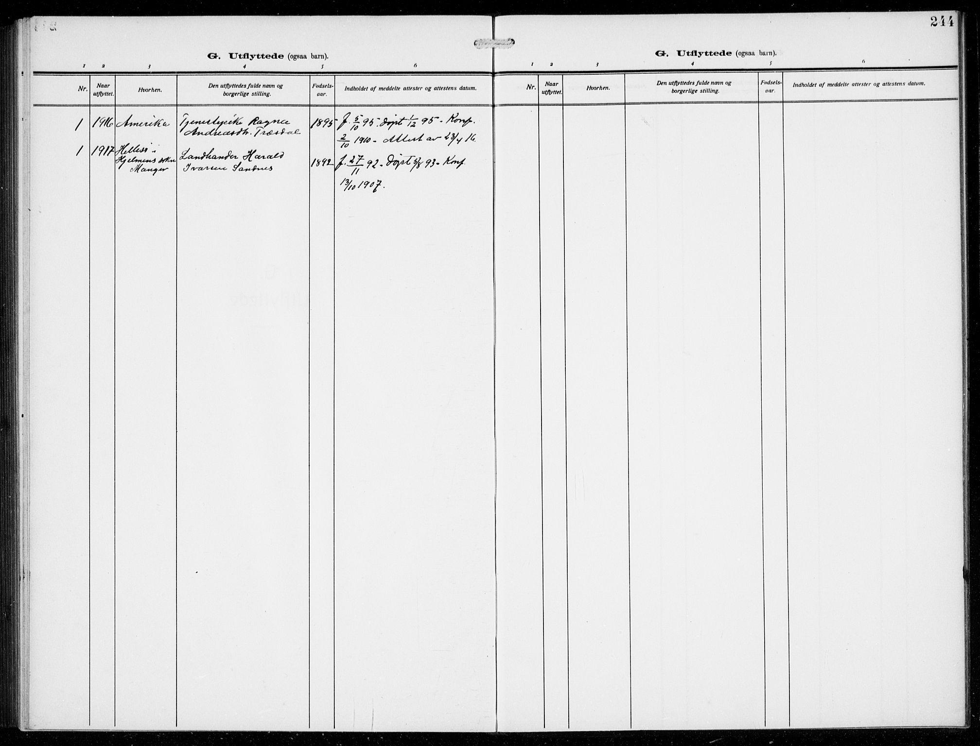 SAB, Masfjorden Soknepresembete, Klokkerbok nr. B  2, 1912-1939, s. 244