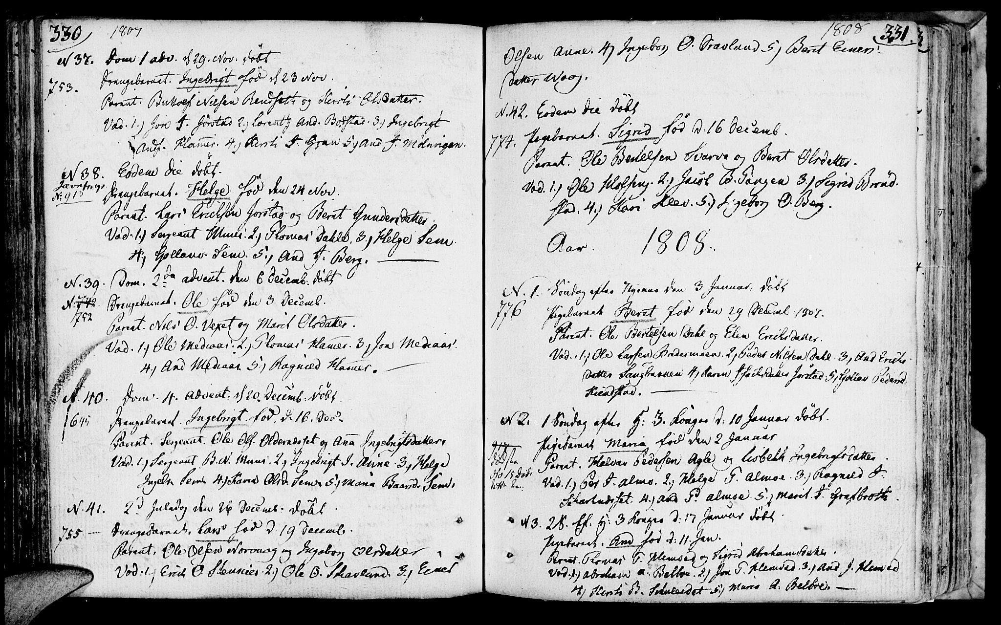 SAT, Ministerialprotokoller, klokkerbøker og fødselsregistre - Nord-Trøndelag, 749/L0468: Ministerialbok nr. 749A02, 1787-1817, s. 330-331